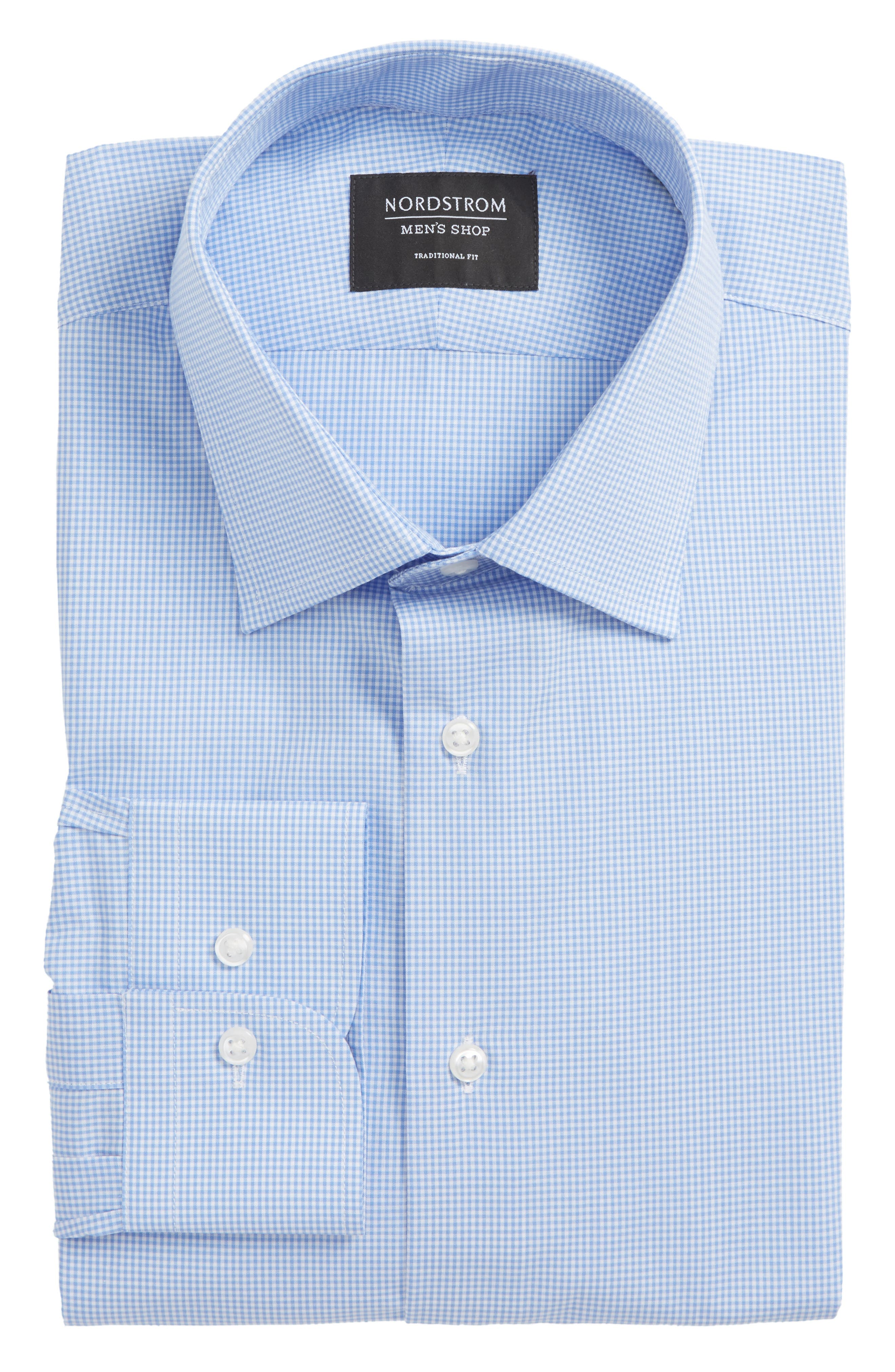 Traditional Fit Check Dress Shirt,                             Alternate thumbnail 6, color,                             Blue Cornflower