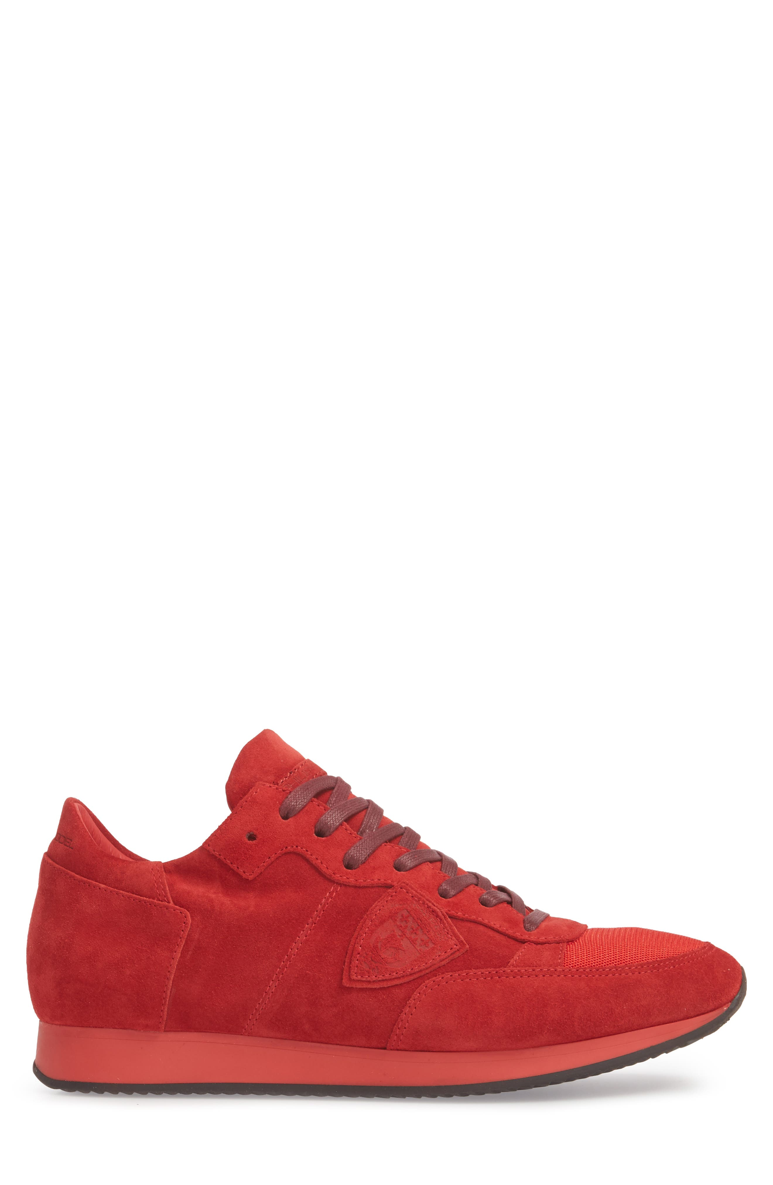 Tropez Low Top Sneaker,                             Alternate thumbnail 3, color,                             Red Suede