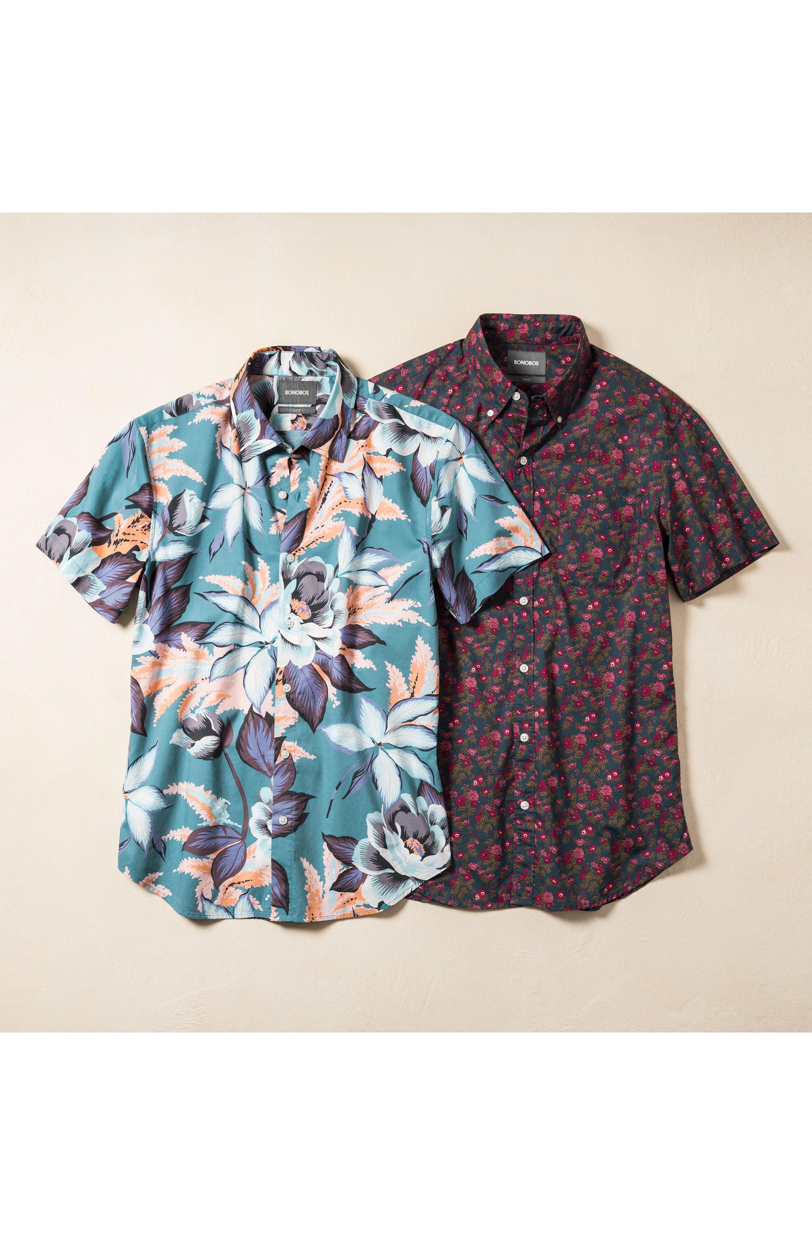 Riviera Slim Fit Floral Print Sport Shirt,                             Alternate thumbnail 7, color,