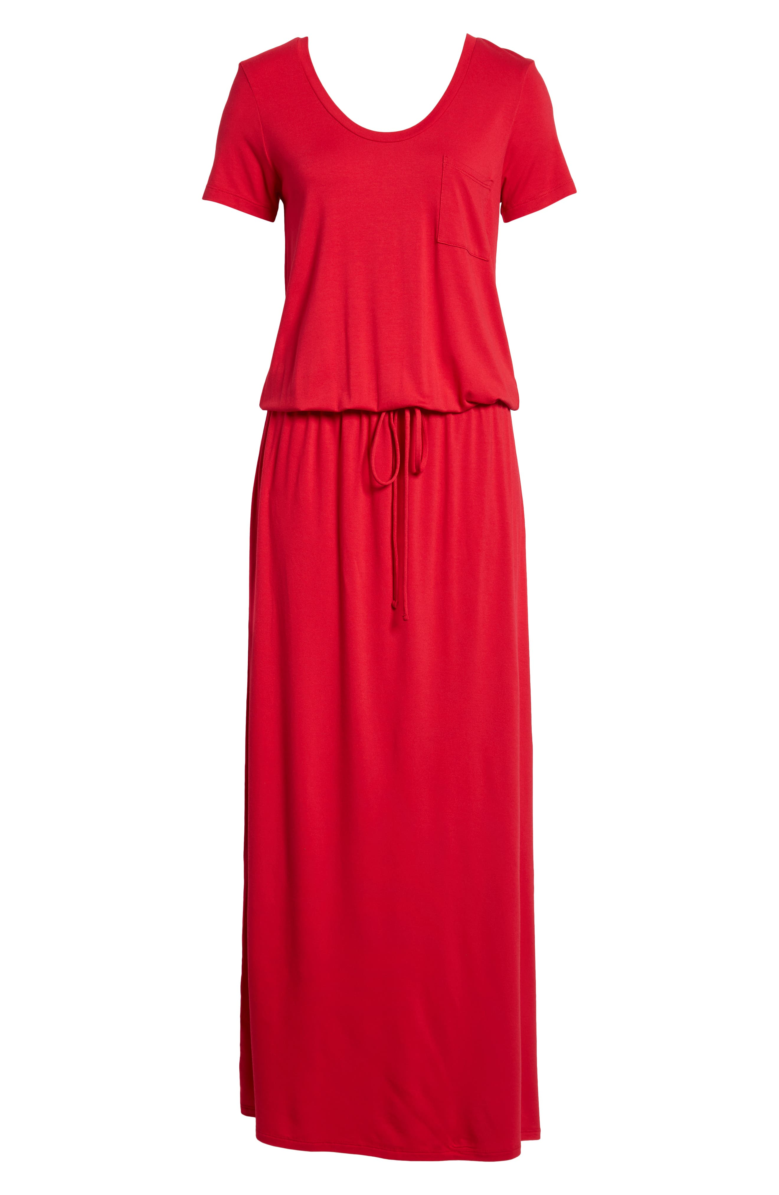 Drawstring V-Neck Jersey Maxi Dress,                             Alternate thumbnail 5, color,                             Red Jalapeno