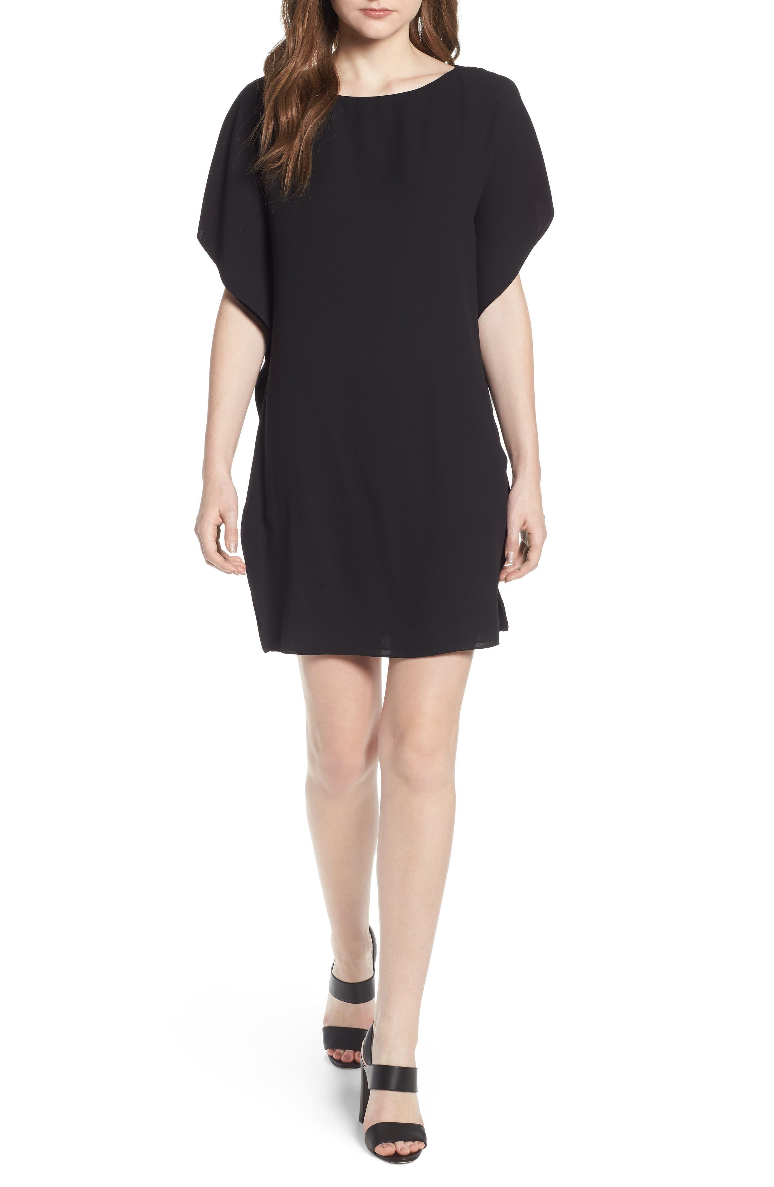 Flutter Sleeve Dress,                             Main thumbnail 1, color,                             Black