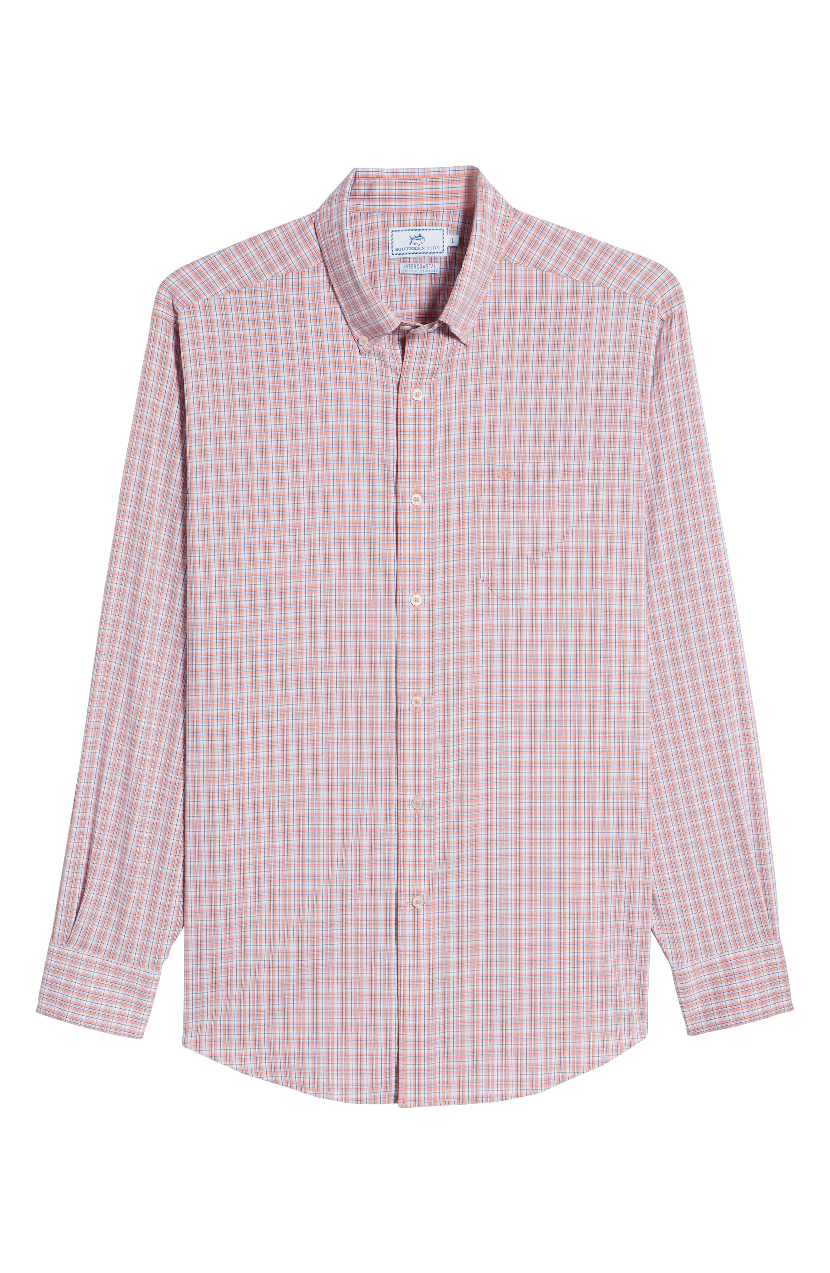 Grand Turk Regular Fit Stretch Plaid Sport Shirt,                             Alternate thumbnail 6, color,                             Nectar Coral