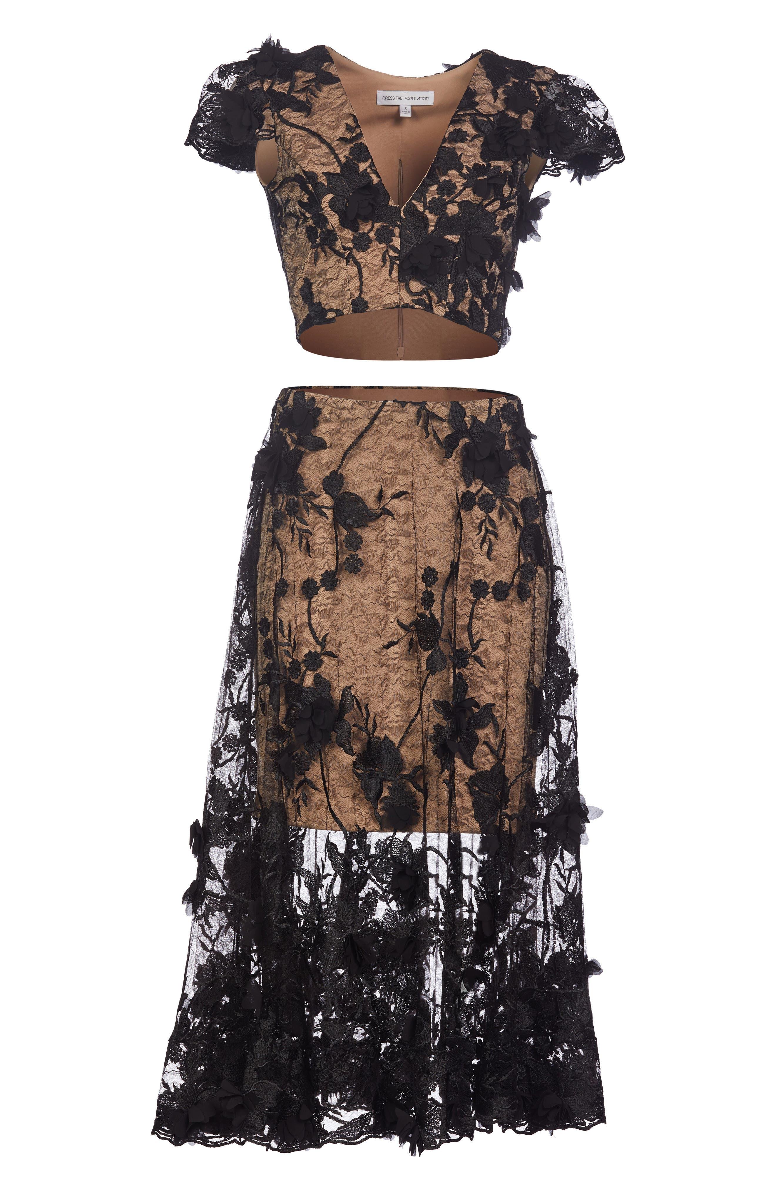 Juliana 3D Lace Two-Piece Dress,                         Main,                         color, Black