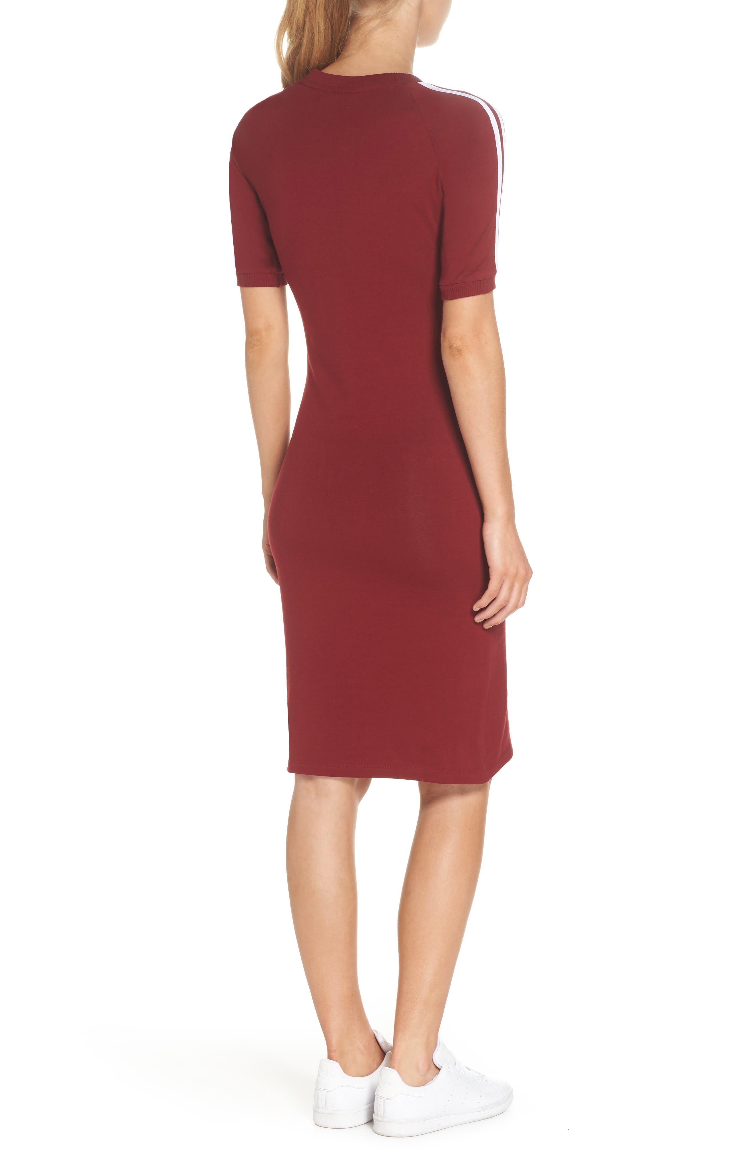 Originals 3-Stripes Dress,                             Alternate thumbnail 2, color,                             Collegiate Burgundy
