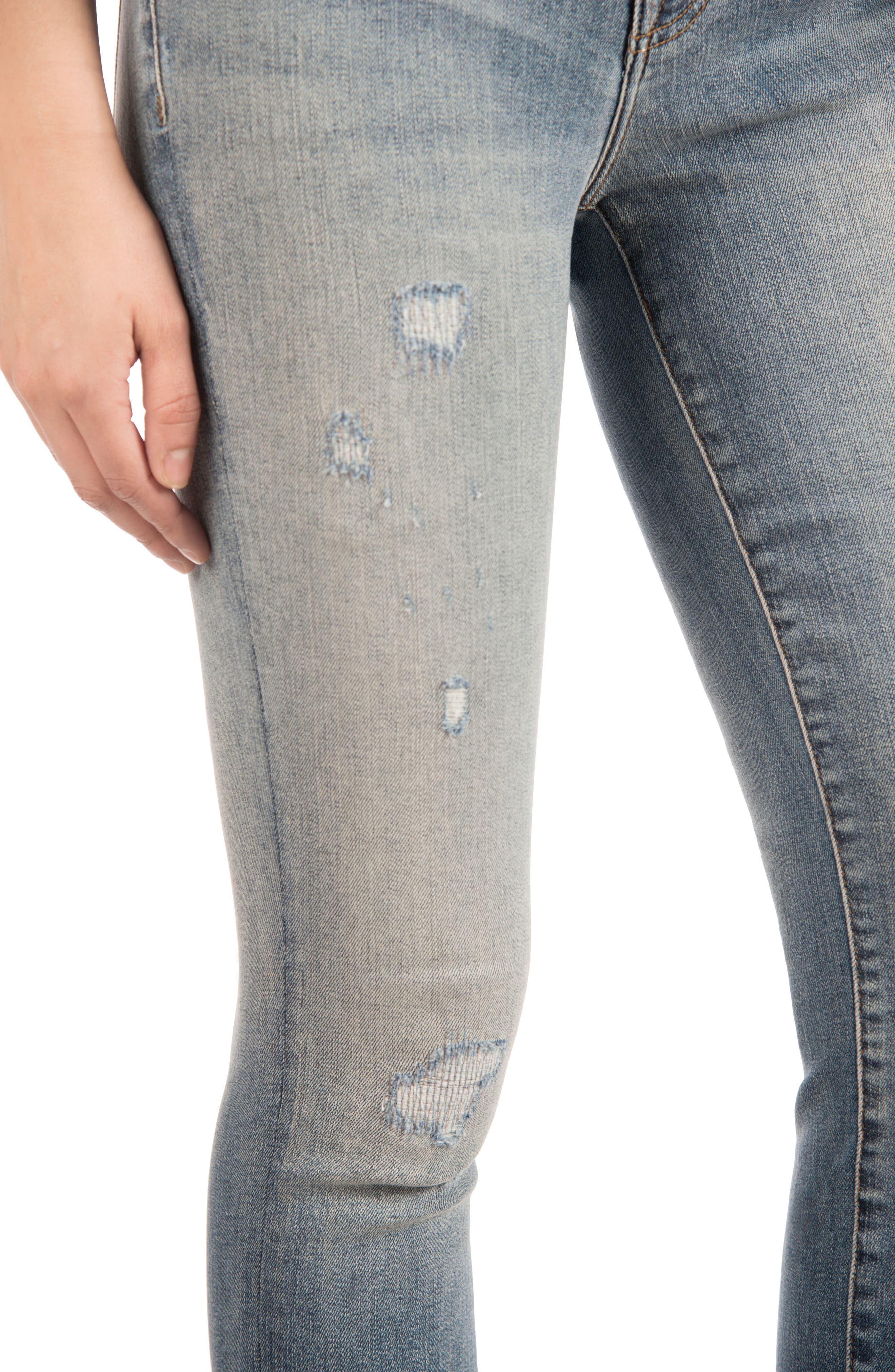 835 Distressed Capri Skinny Jeans,                             Alternate thumbnail 4, color,                             Nolita