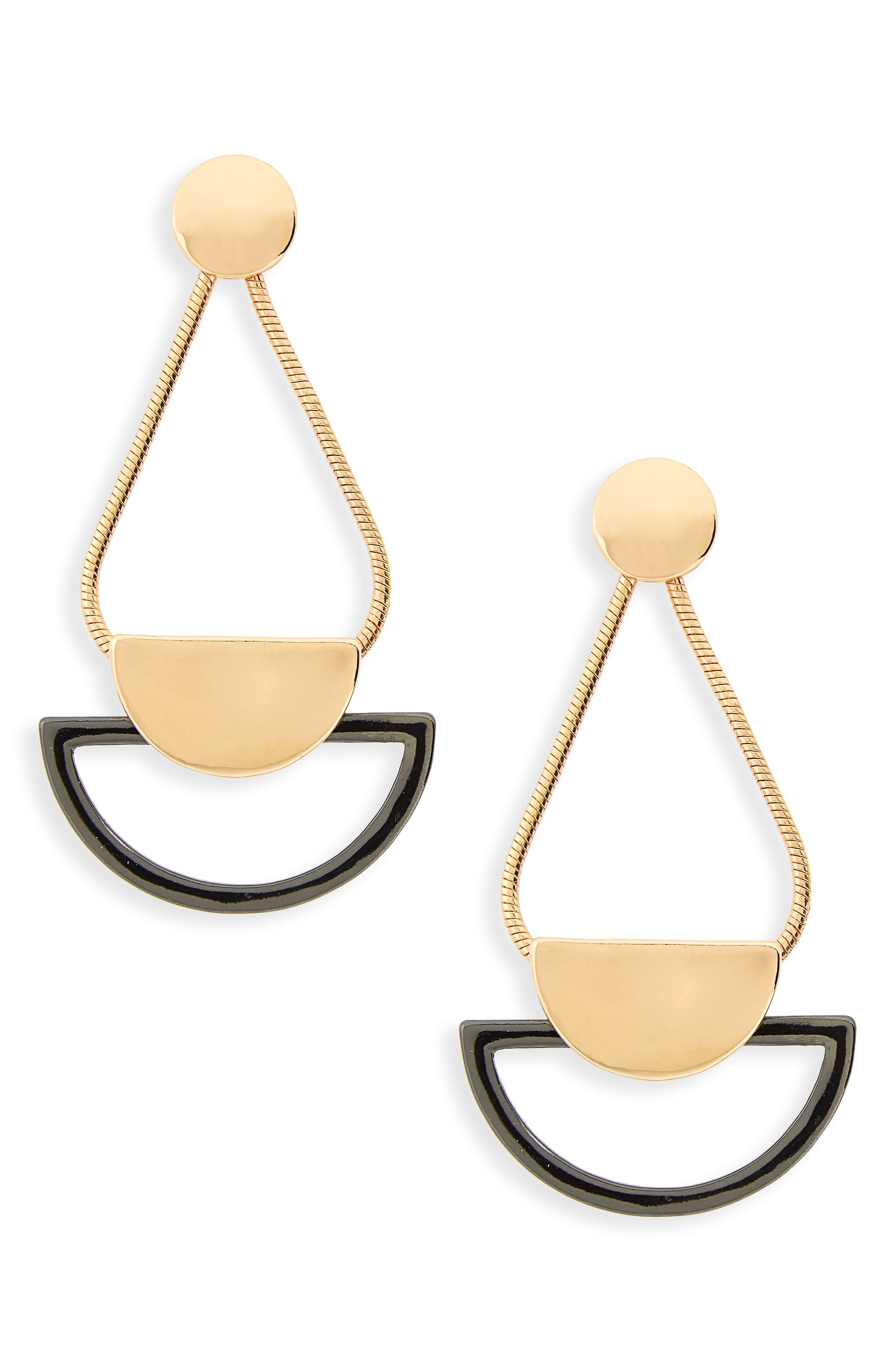 Kitsch Snake Chain Geometric Drop Earrings