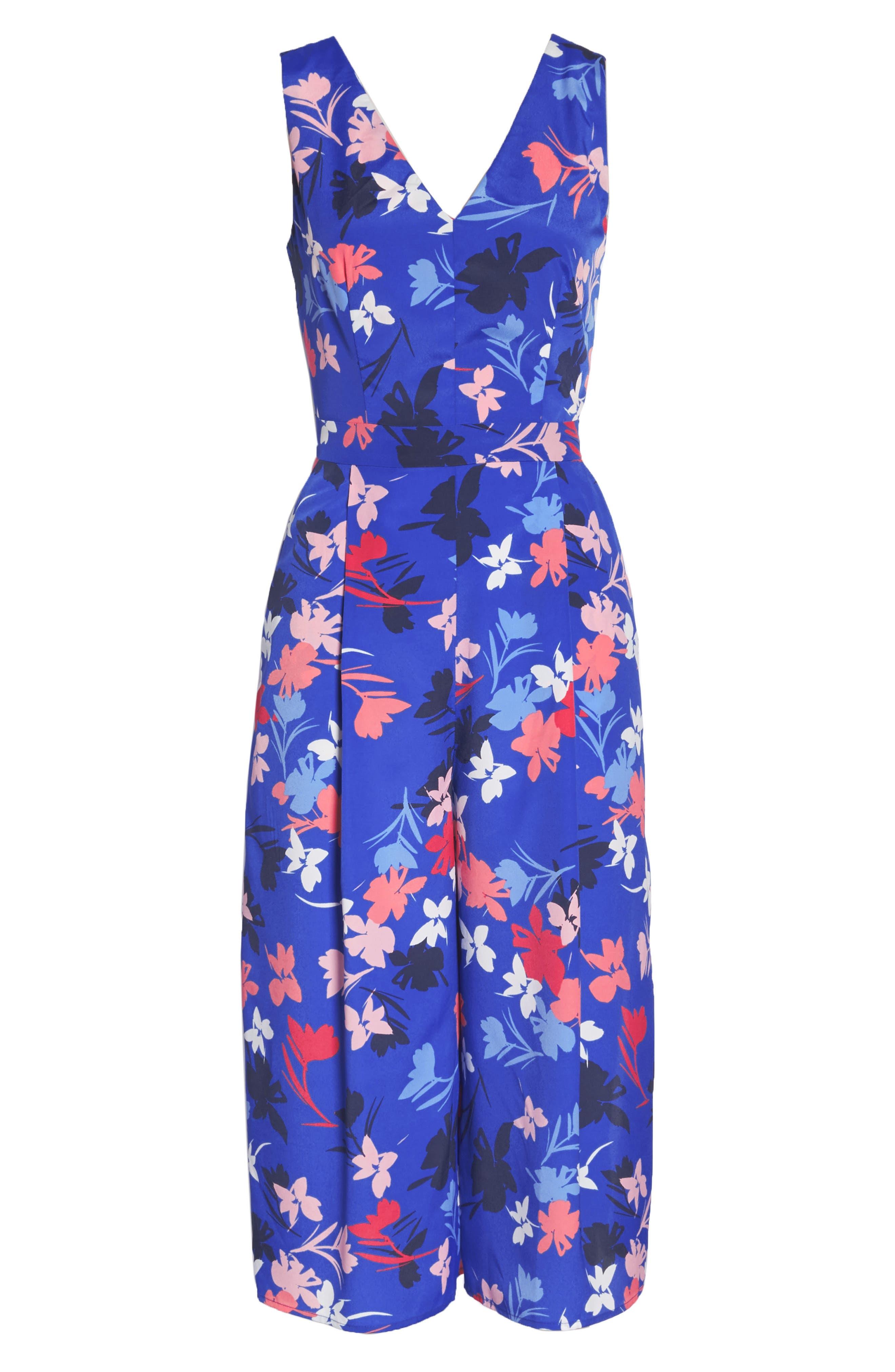 Floral Print Crop Jumpsuit,                             Alternate thumbnail 7, color,                             Blue/ Pink