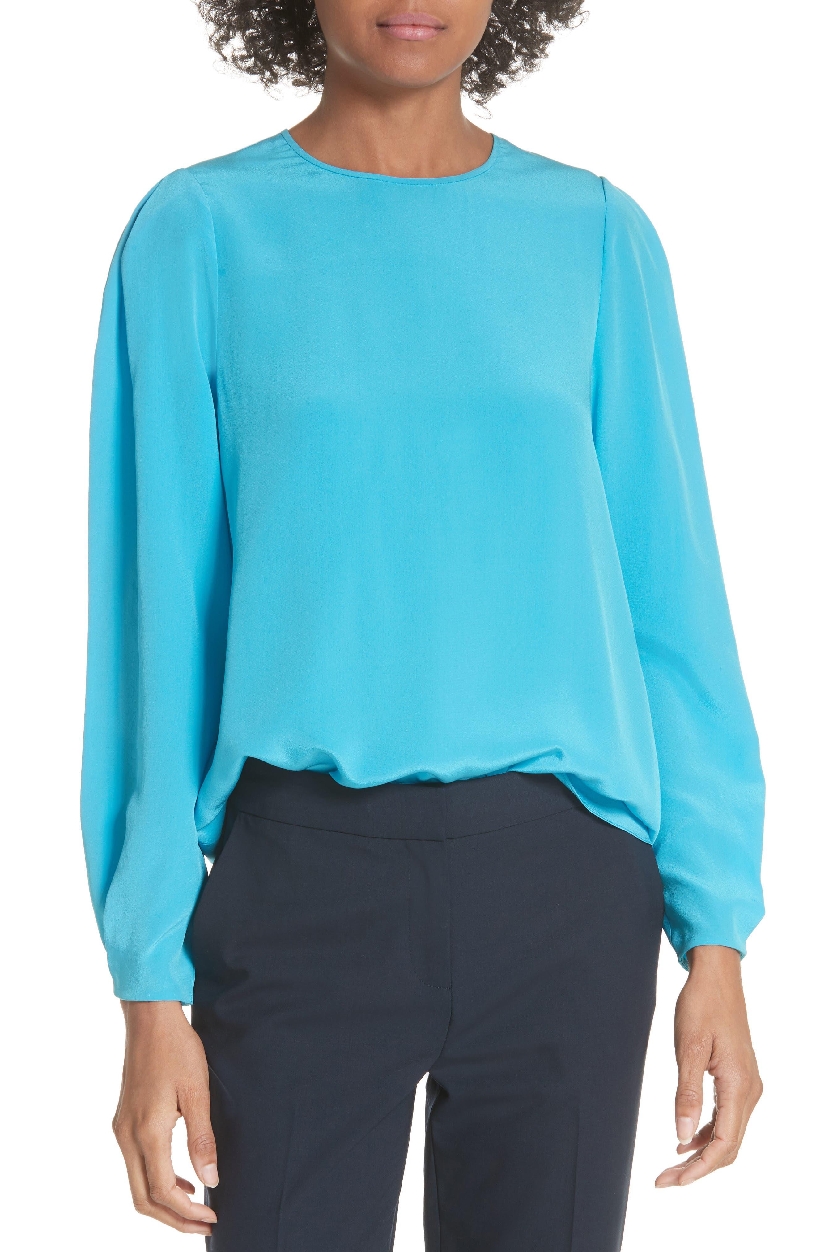 Cinched Sleeve Silk Blouse,                             Main thumbnail 1, color,                             Horizon