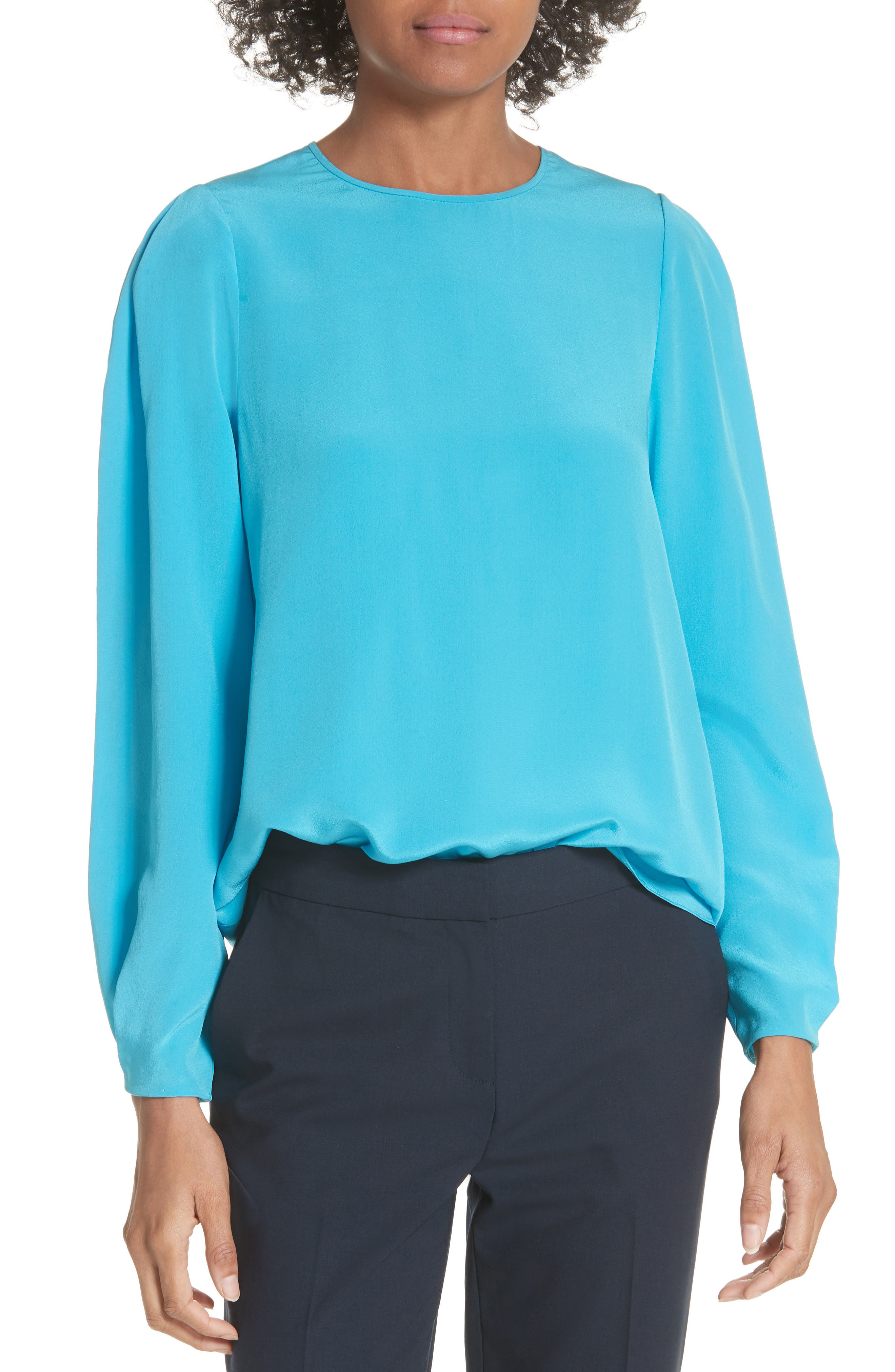Cinched Sleeve Silk Blouse,                         Main,                         color, Horizon