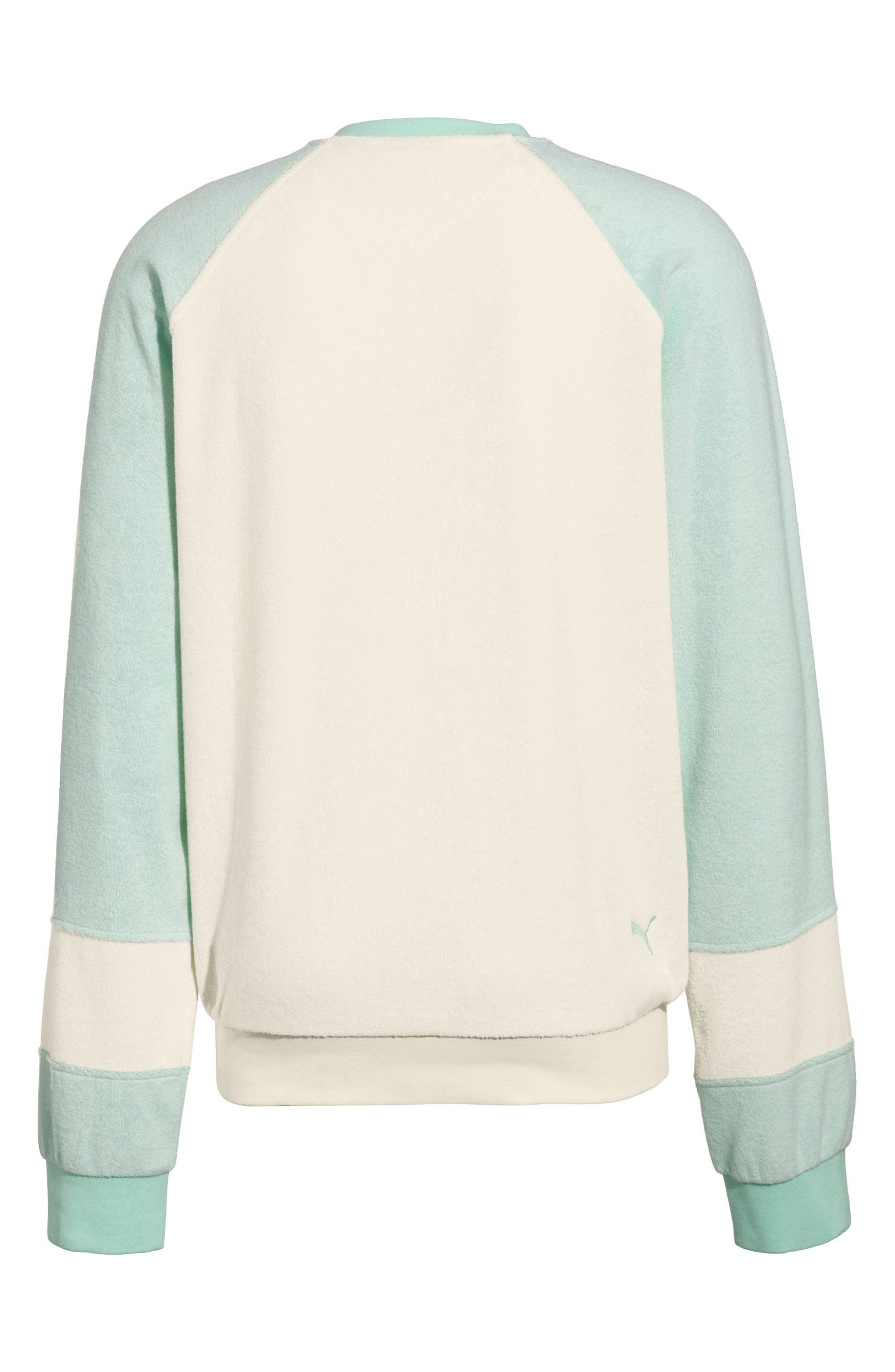 PUMA by Rihanna Palm Graphic Terry Cloth Sweater,                             Alternate thumbnail 2, color,                             Vanilla Ice