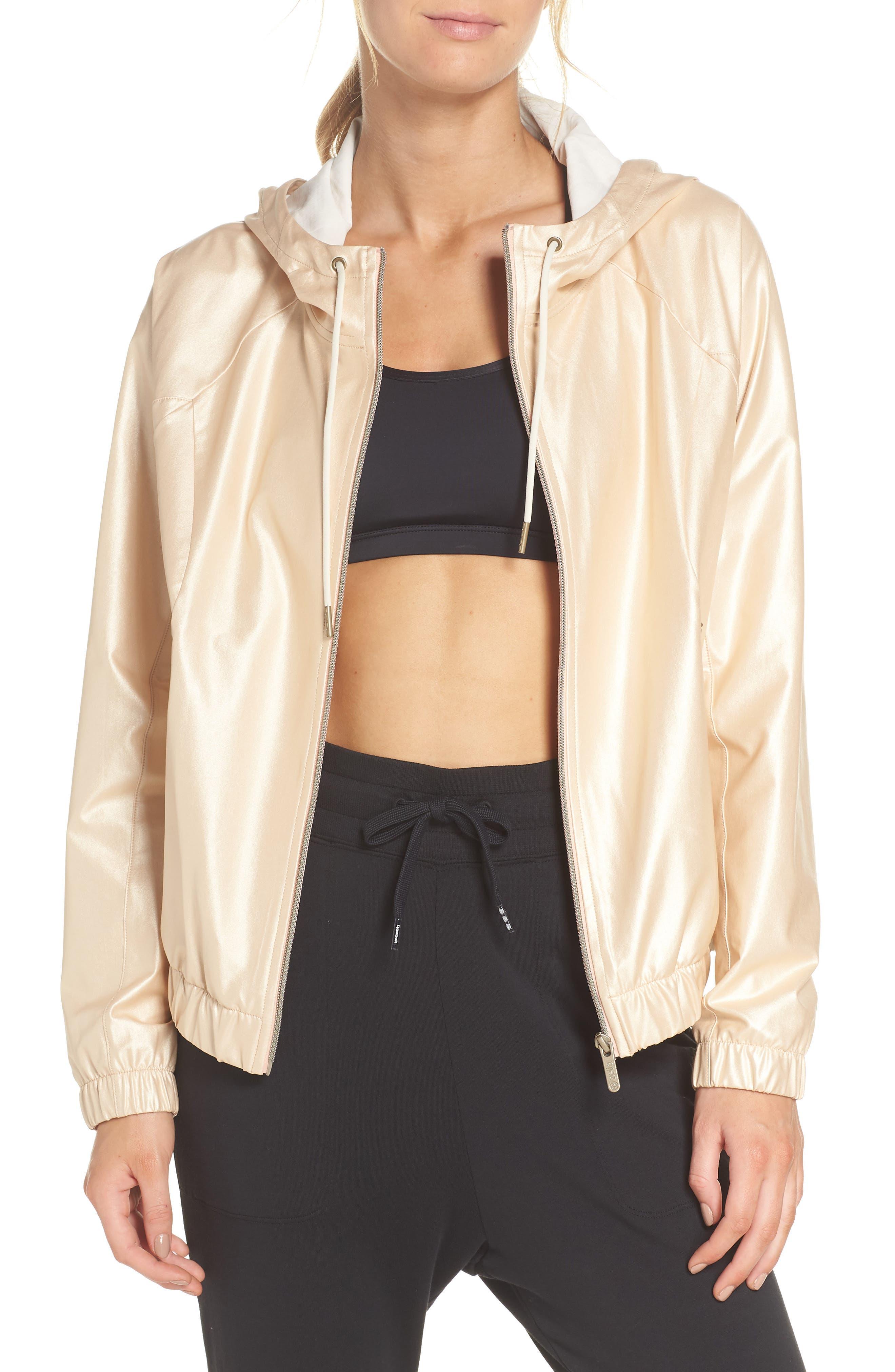 Style Game Shine Hooded Jacket,                             Main thumbnail 1, color,                             Metallic Oro