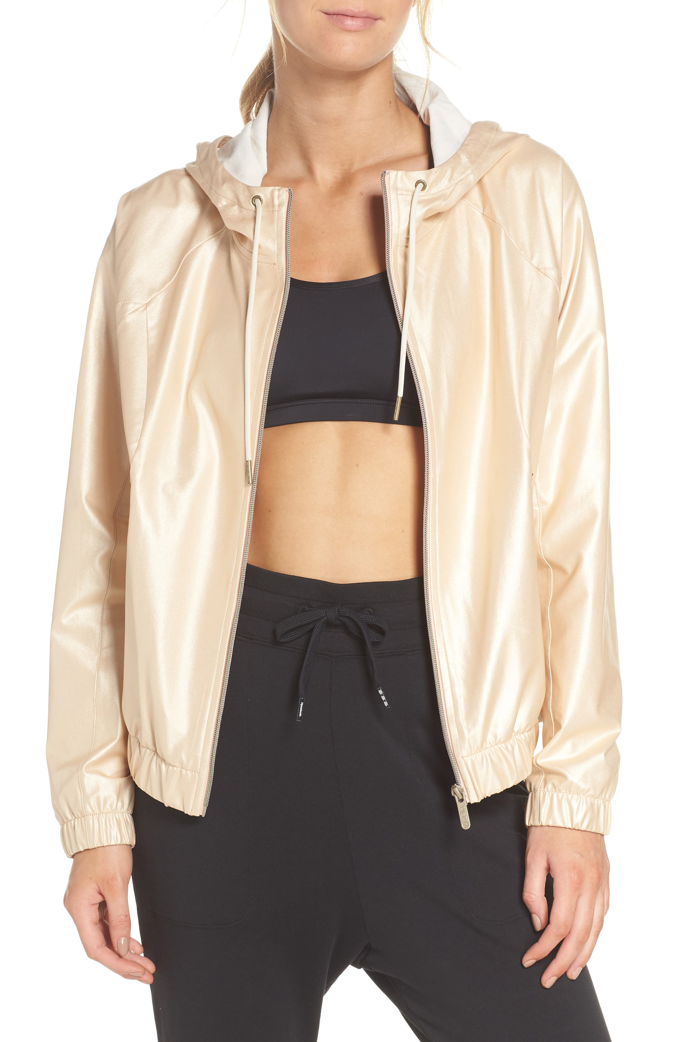 Style Game Shine Hooded Jacket,                         Main,                         color, Metallic Oro