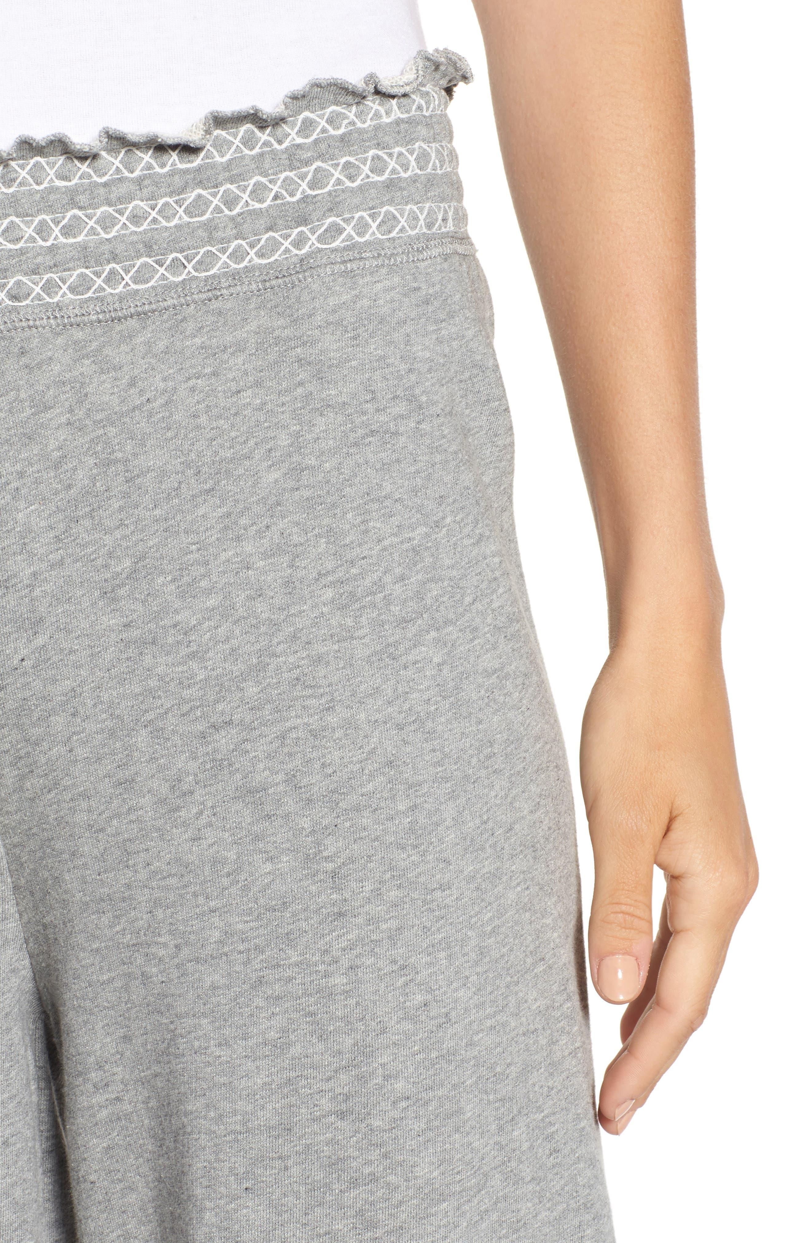 smocked wide leg crop sweatpants,                             Alternate thumbnail 4, color,                             Flint Heather