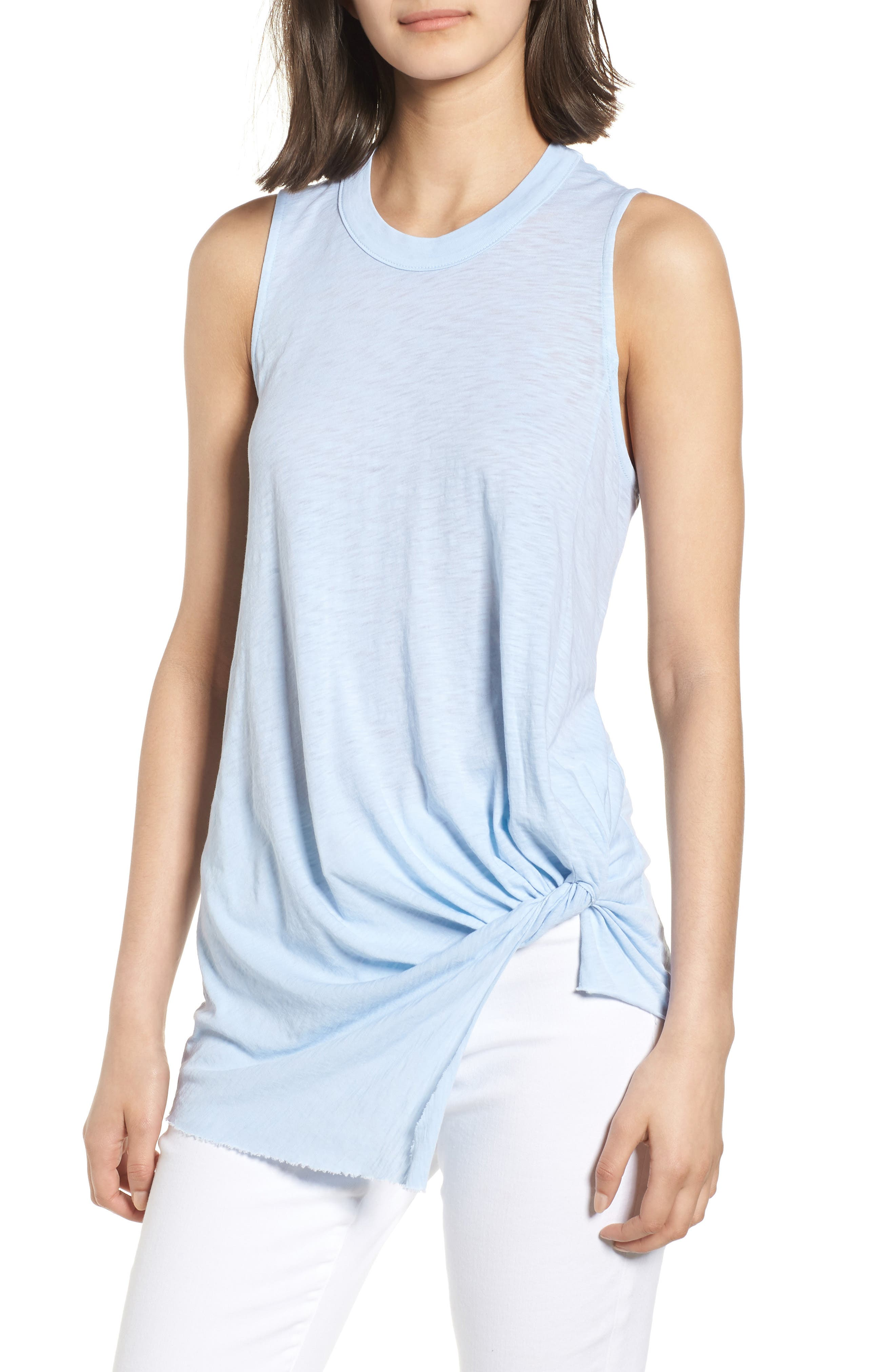 Twist Hem Slub Supima<sup>®</sup> Cotton Tank,                         Main,                         color, Celeste
