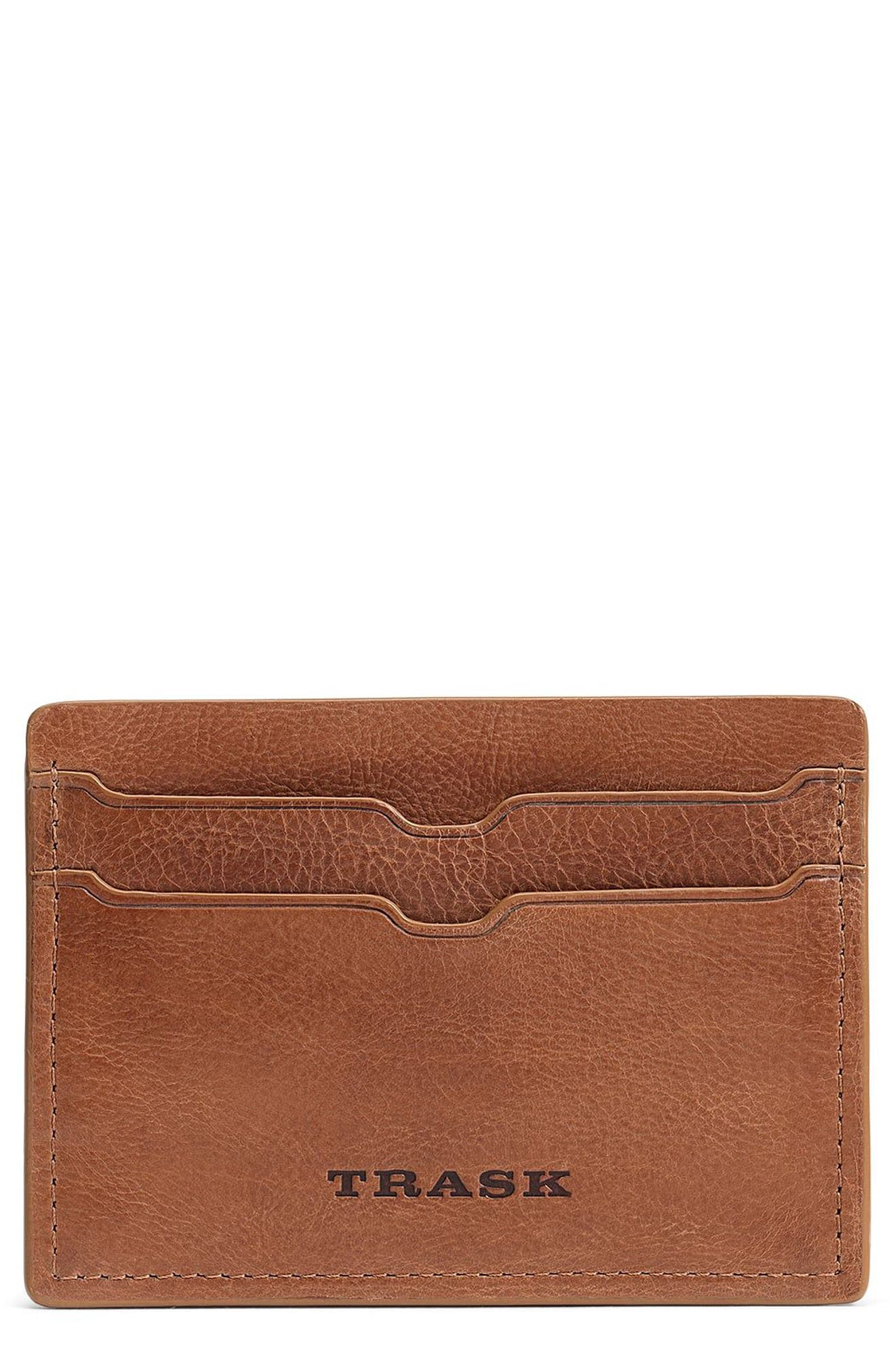 Canyon Leather Card Case,                             Main thumbnail 1, color,                             Tan