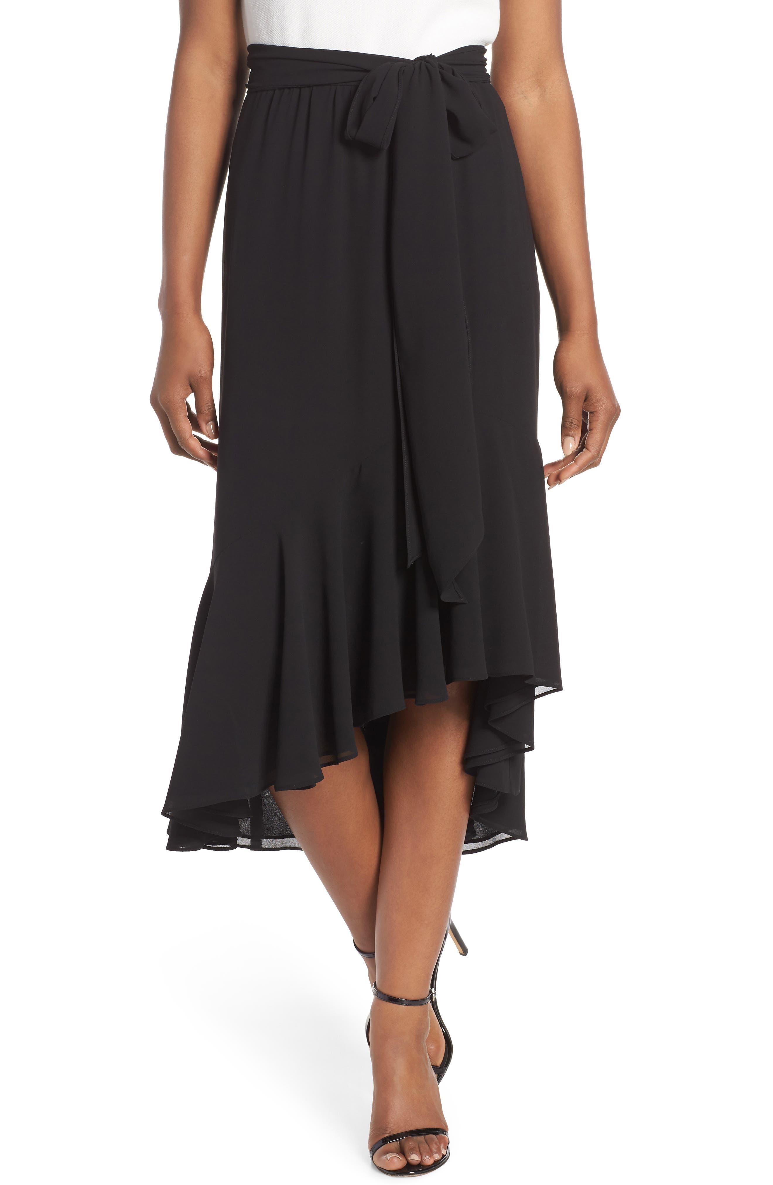 Asymmetrical High/Low Flounce Skirt,                             Main thumbnail 1, color,                             Black