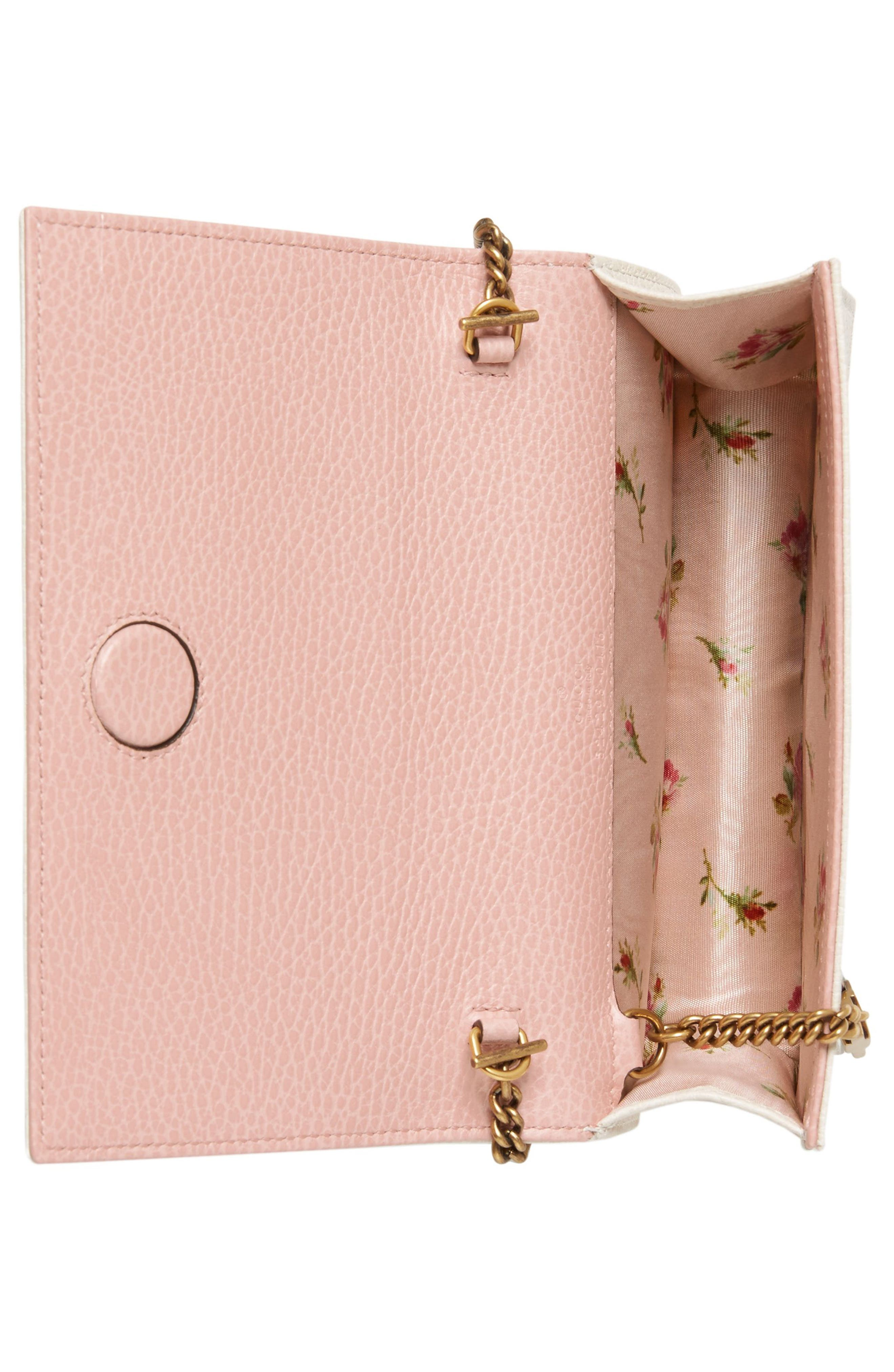 Fiocchino Leather Wallet on a Chain,                             Alternate thumbnail 2, color,                             Mystic White/ Pink/ Crystal