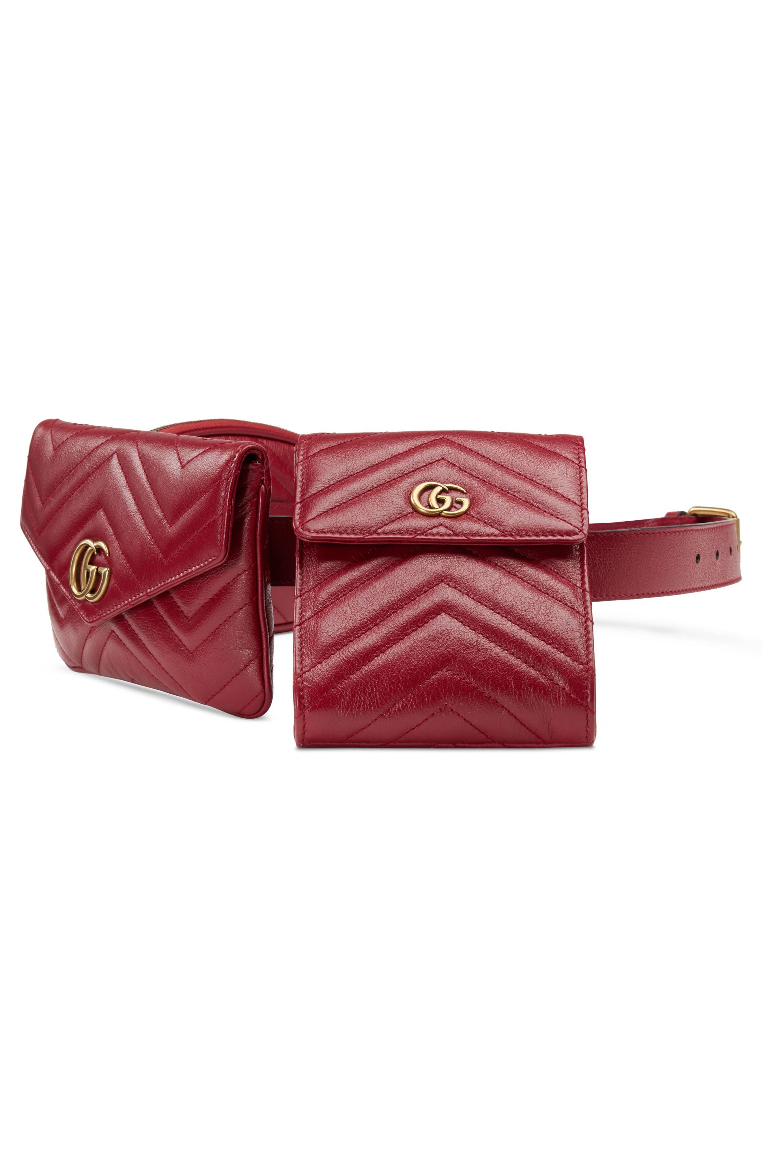 GG Marmont 2.0 Matelassé Triple Pouch Leather Belt Bag,                             Alternate thumbnail 4, color,                             Cerise/ Cerise