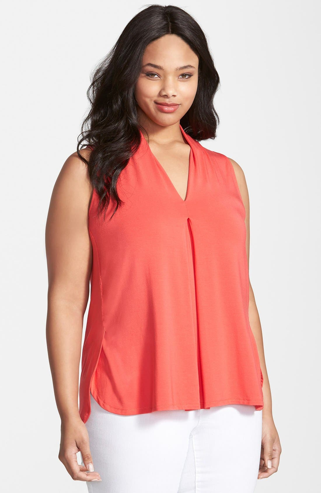 'Aryn' Sleeveless V-Neck Jersey Top,                         Main,                         color, Hibiscus