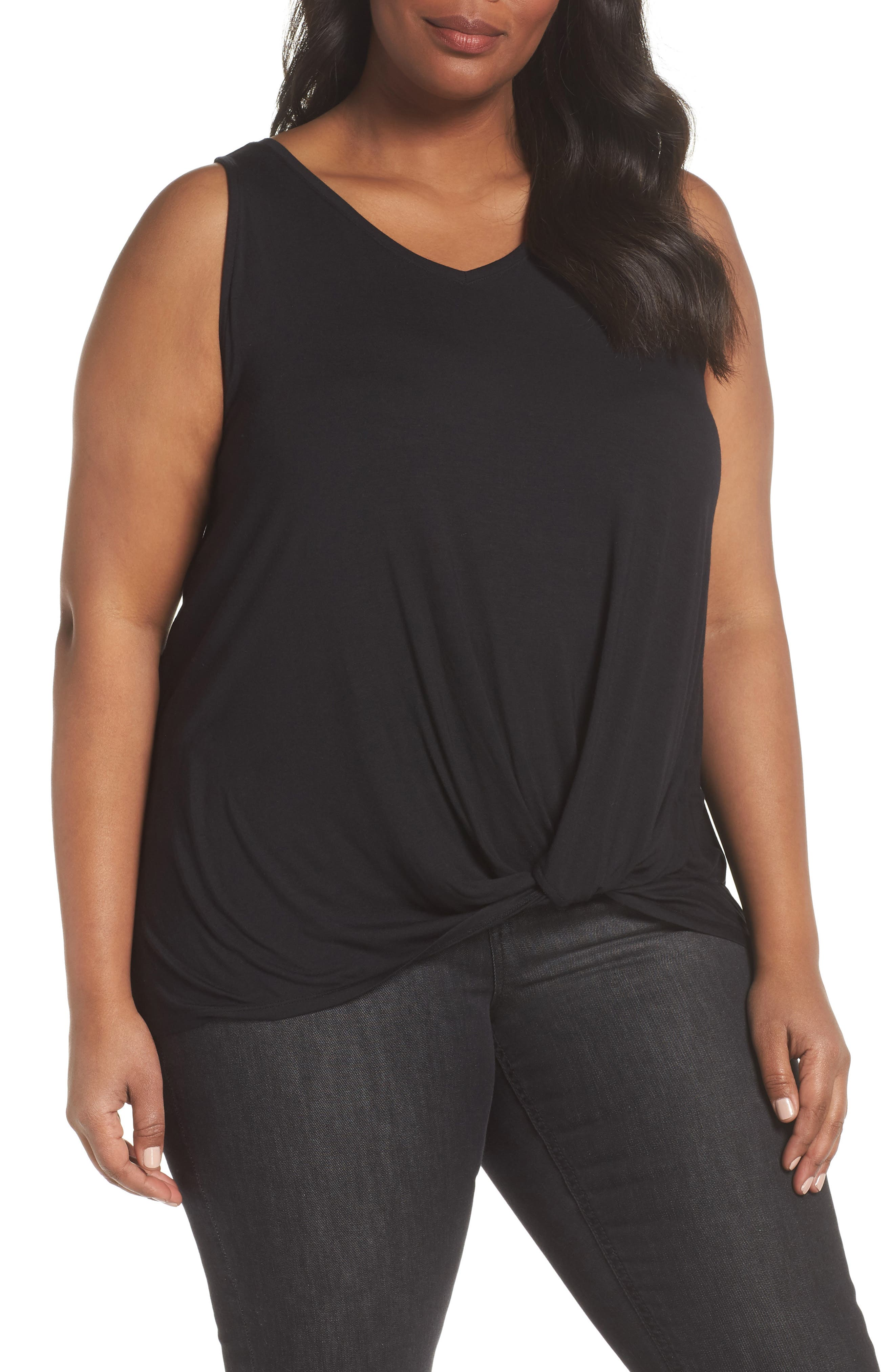 Twisted Waist Tank Top,                         Main,                         color, Black