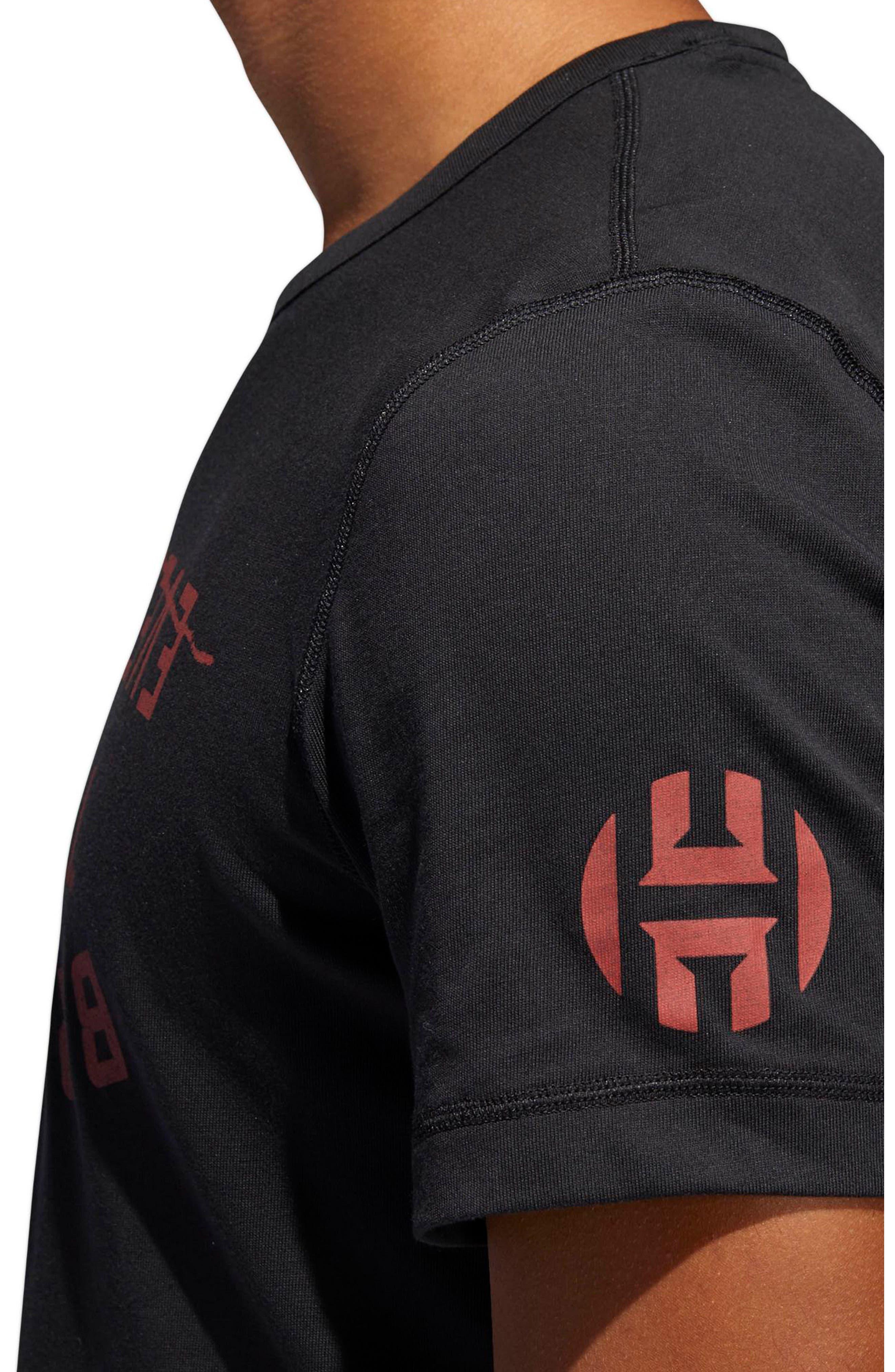 Harden Brand Slogan T-Shirt,                             Alternate thumbnail 4, color,                             Black