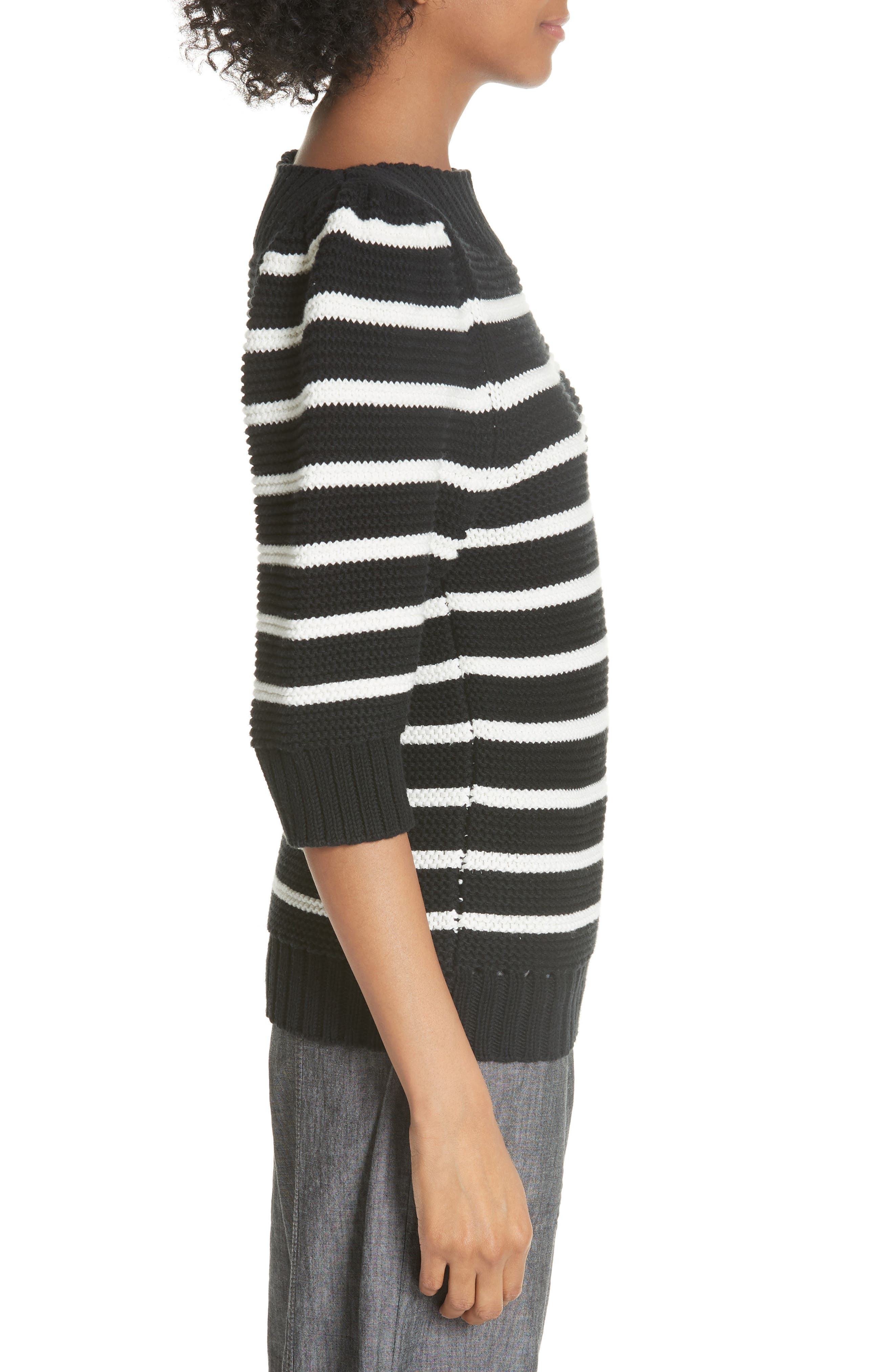 Puff Sleeve Stripe Sweater,                             Alternate thumbnail 3, color,                             Black Combo