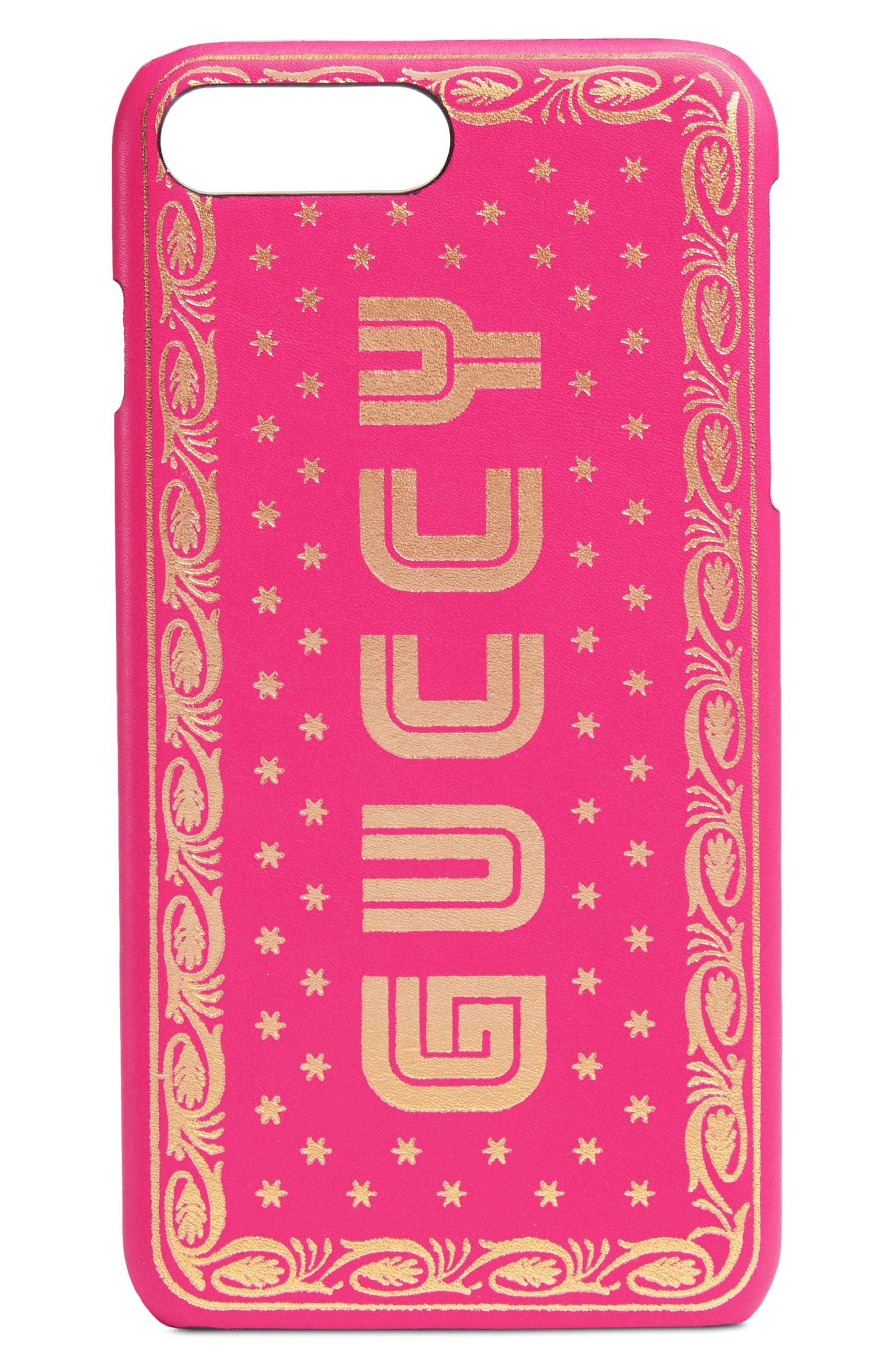 Gucci Guccy Logo Moon & Stars Leather iPhone 7/8 Plus Case