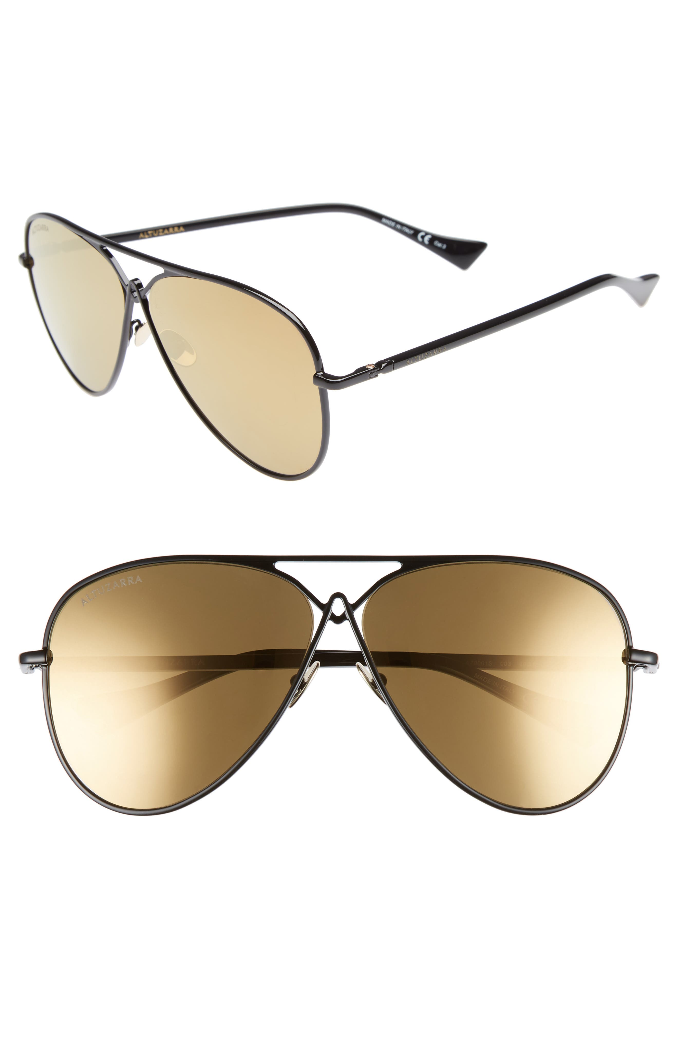 60MM METAL AVIATOR SUNGLASSES - BLACK