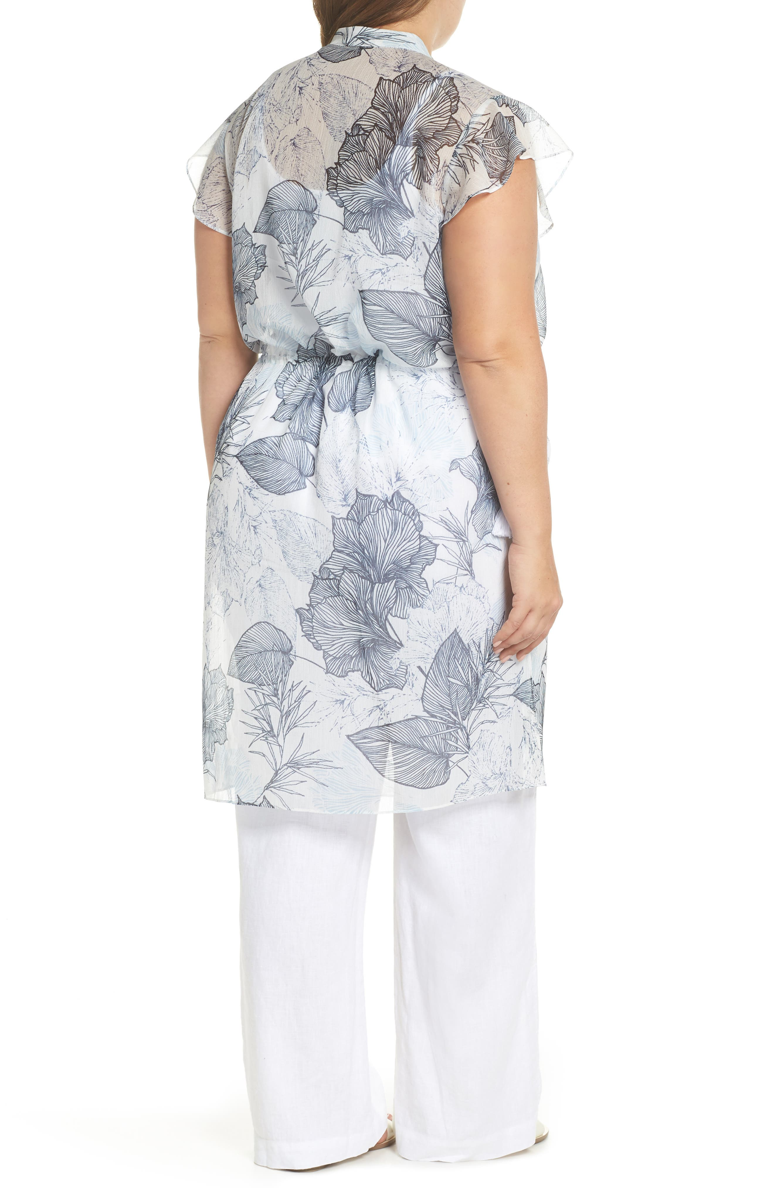 Flutter Sleeve Floral Chiffon Shirt Tunic,                             Alternate thumbnail 2, color,                             Ultra White