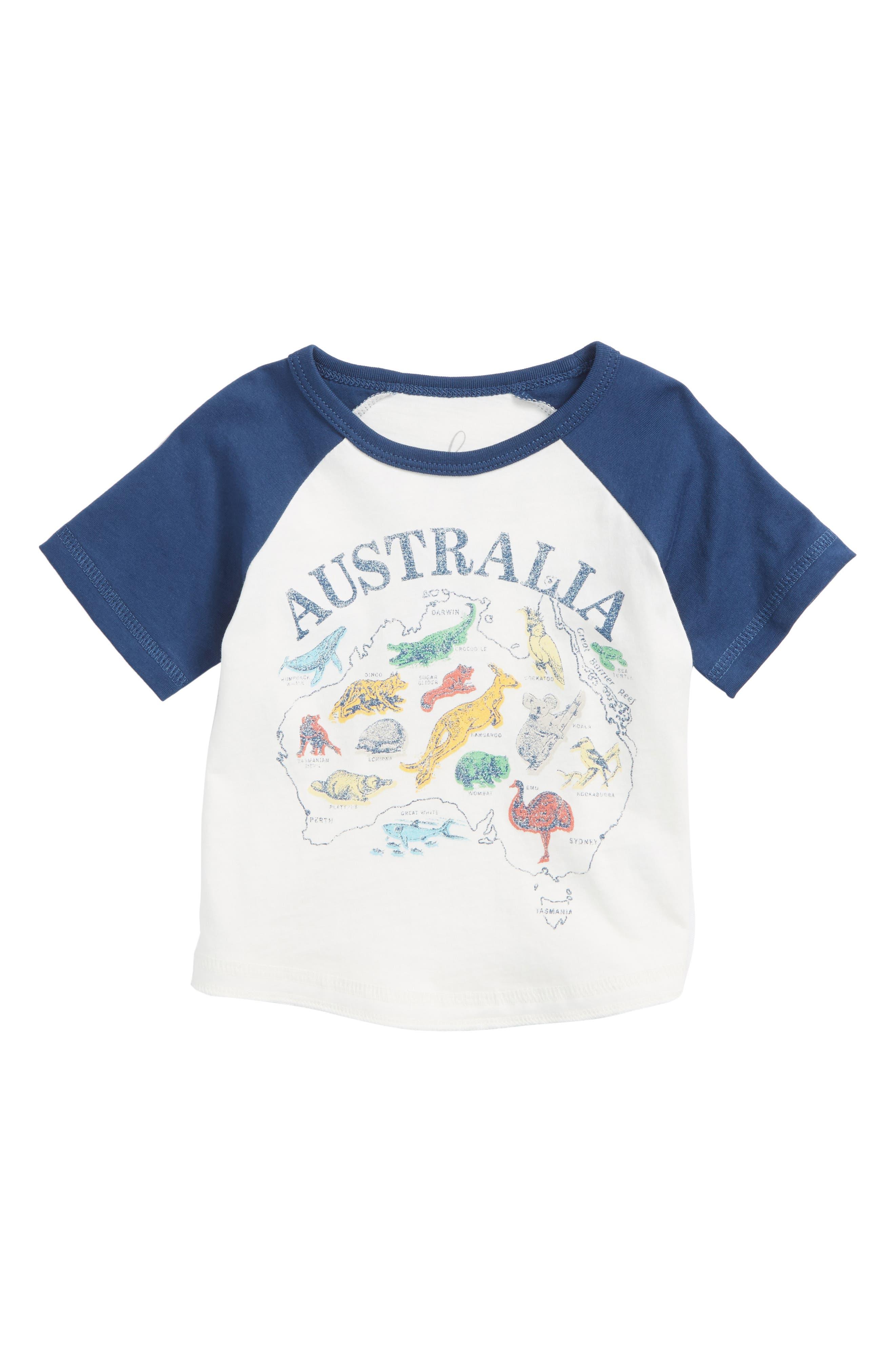 Australia Raglan T-Shirt,                             Main thumbnail 1, color,                             Ivory