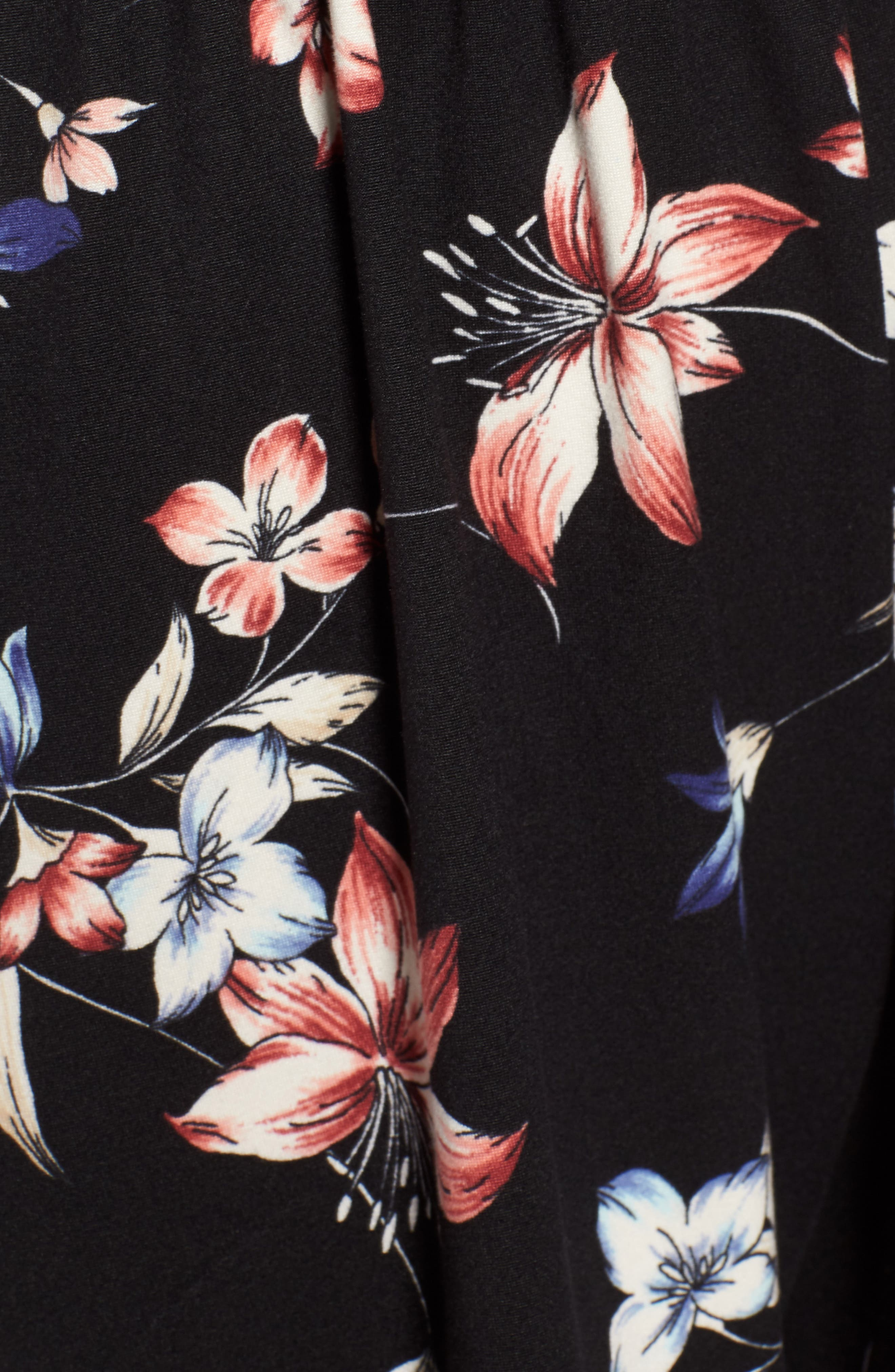 Floral Print Tie Back Romper,                             Alternate thumbnail 6, color,                             Black