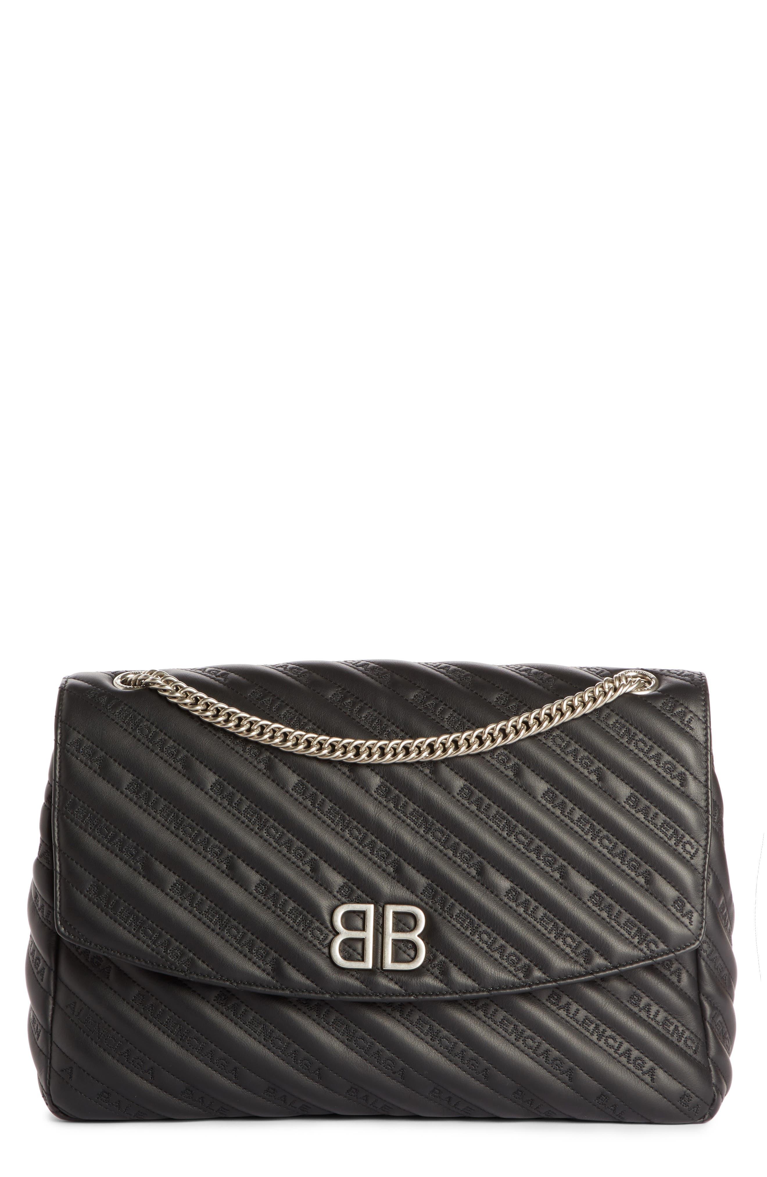 Balenciaga Large BB Round Leather Shoulder Bag