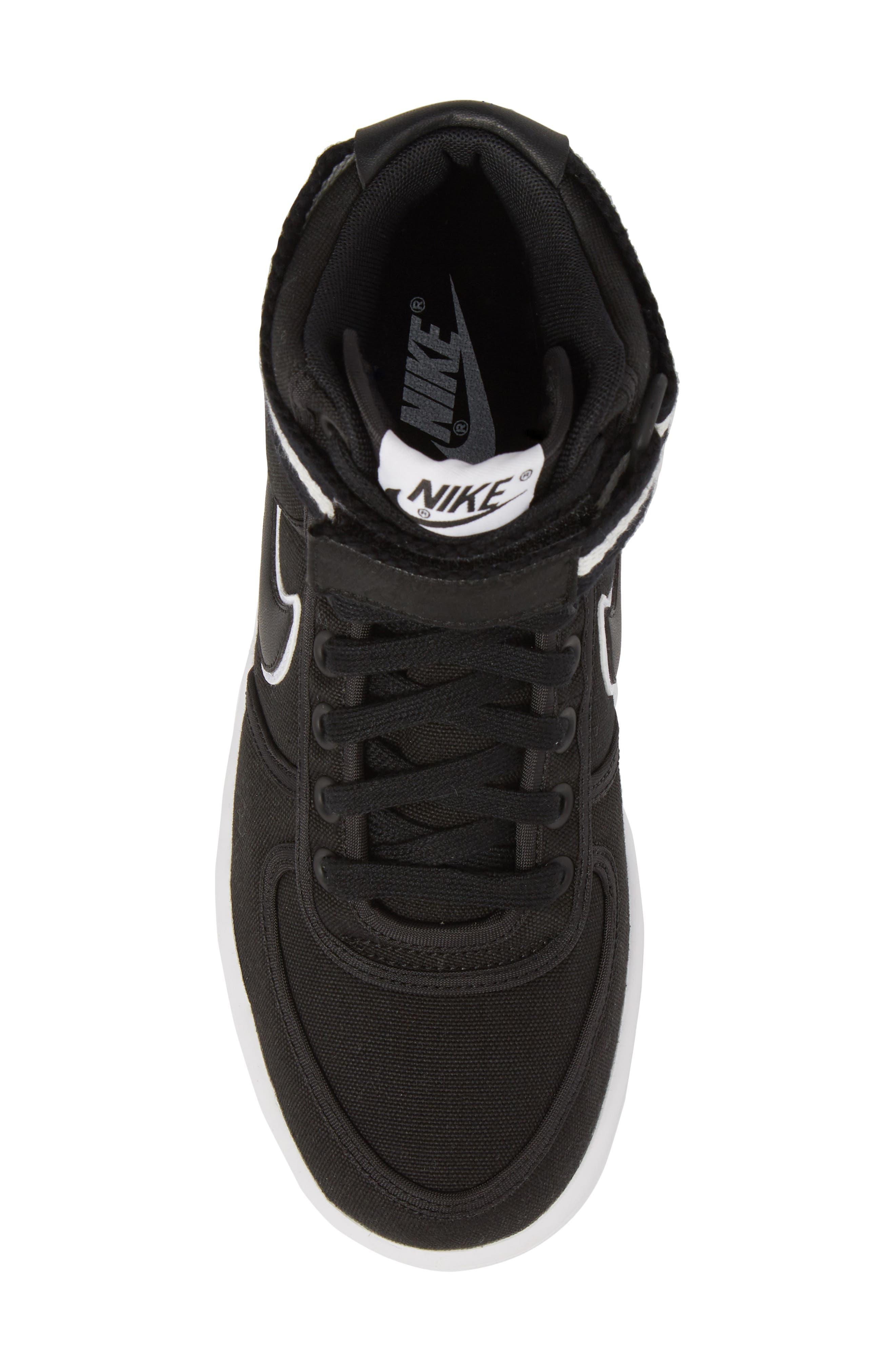 Vandal High Top Sneaker,                             Alternate thumbnail 5, color,                             Black/ Black-White