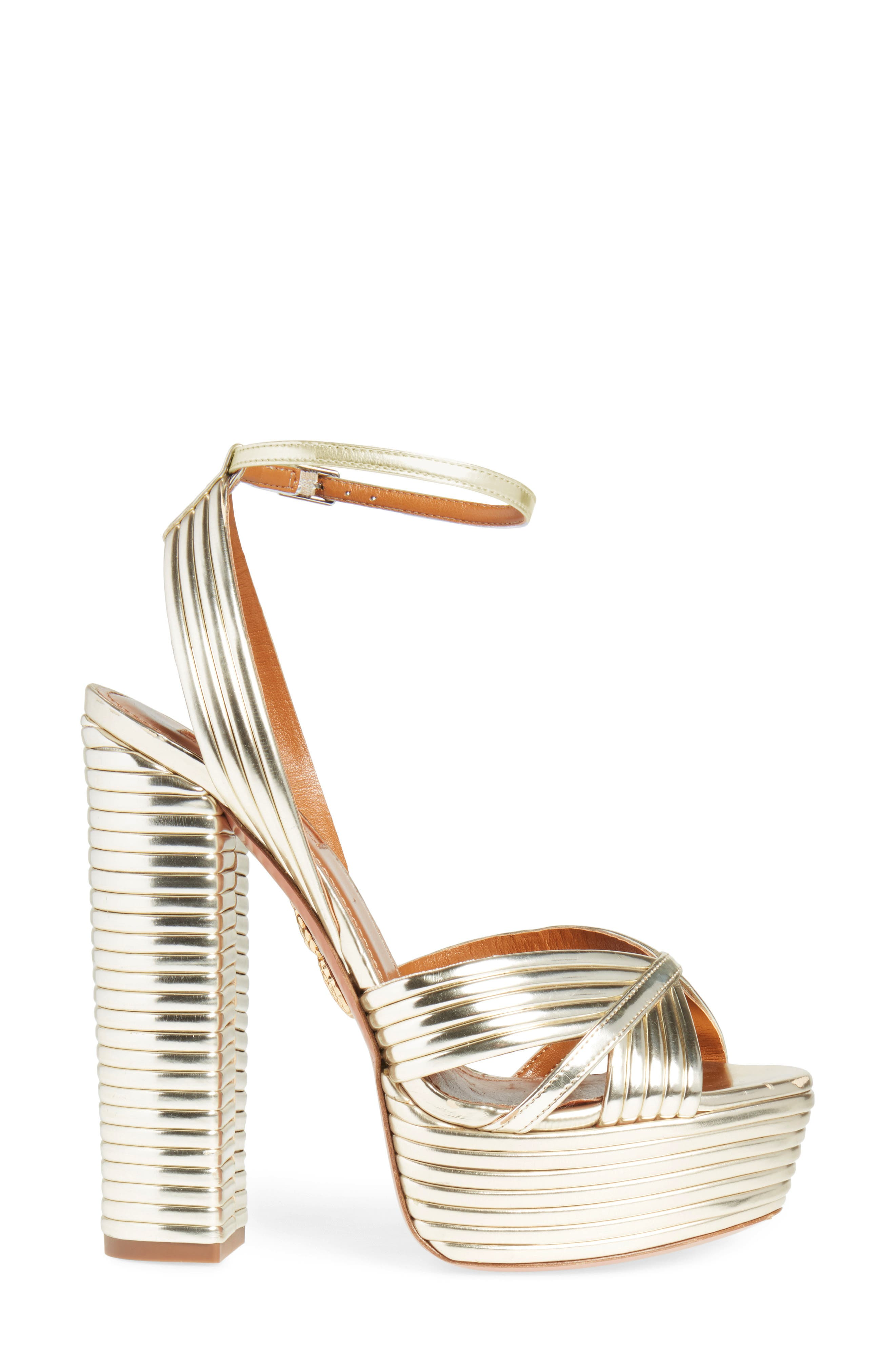 Sundance Platform Sandal,                             Alternate thumbnail 3, color,                             Light Gold