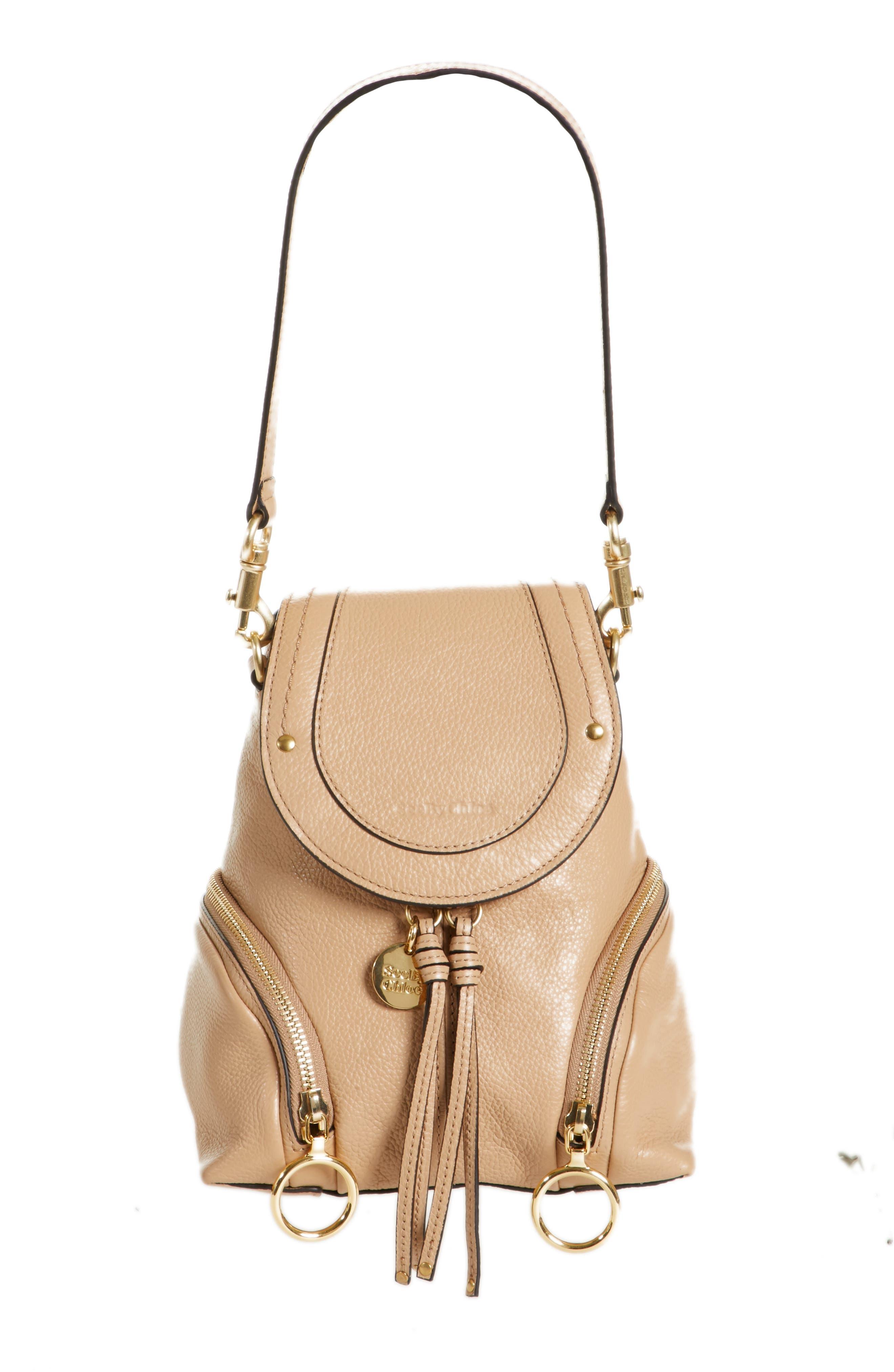 Small Olga Leather Backpack,                             Main thumbnail 1, color,                             Blush Nude
