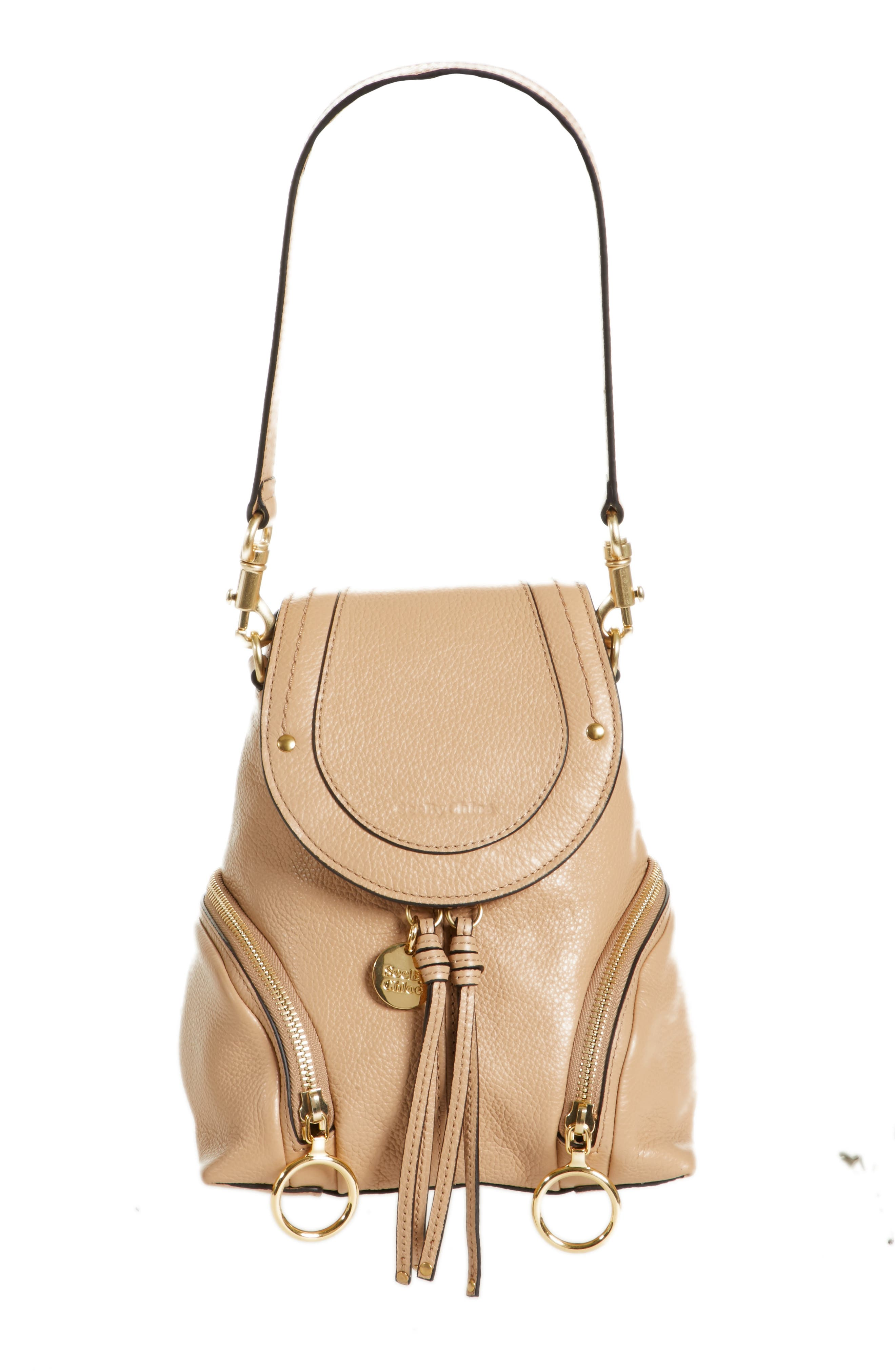 Small Olga Leather Backpack,                         Main,                         color, Blush Nude