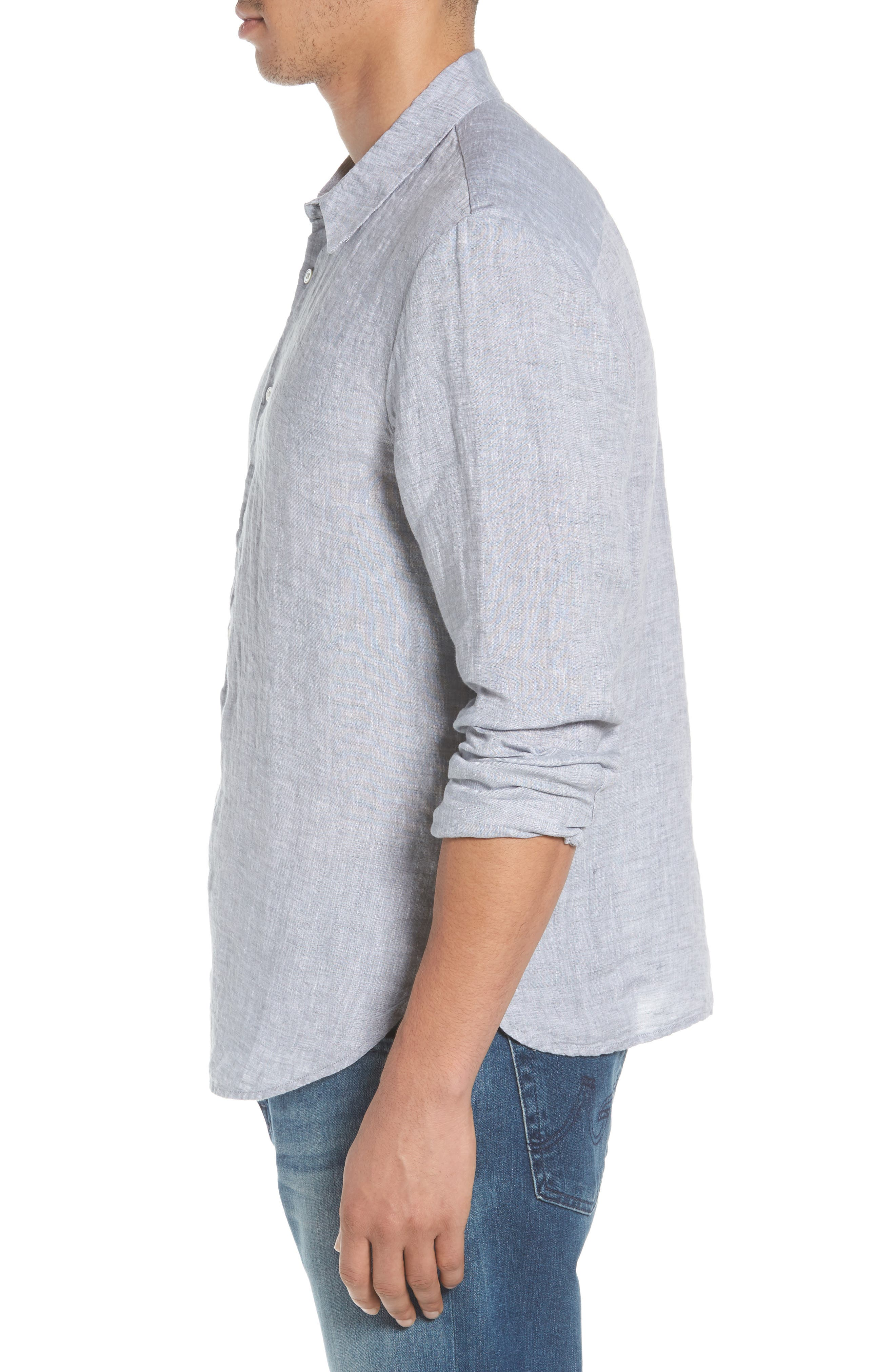 Slim Fit Linen Sport Shirt,                             Alternate thumbnail 4, color,                             Chambray
