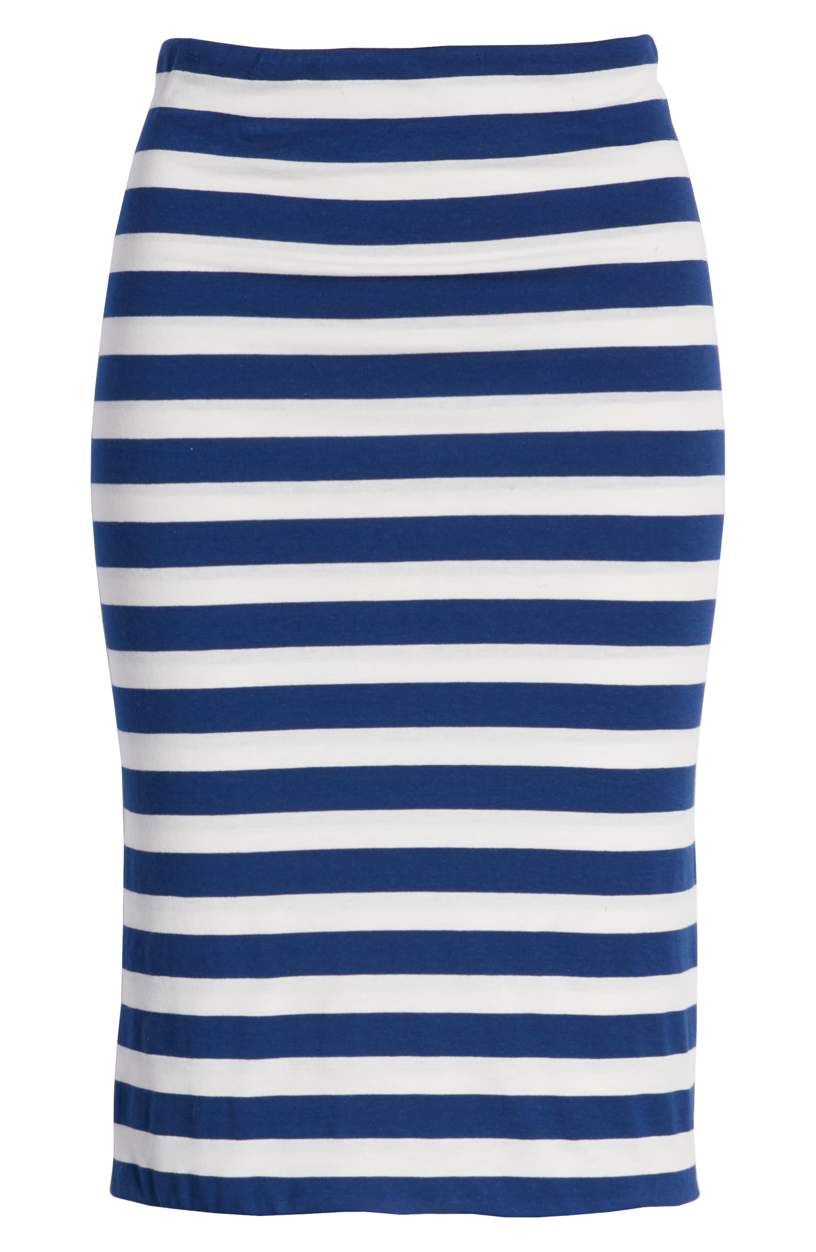x Hi Sugarplum! Fornillo Pencil Skirt,                             Alternate thumbnail 7, color,                             Blue Stripe