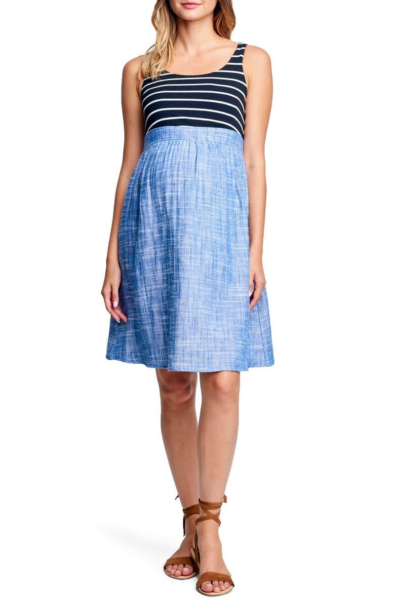 Maternity Knit  Woven Dress