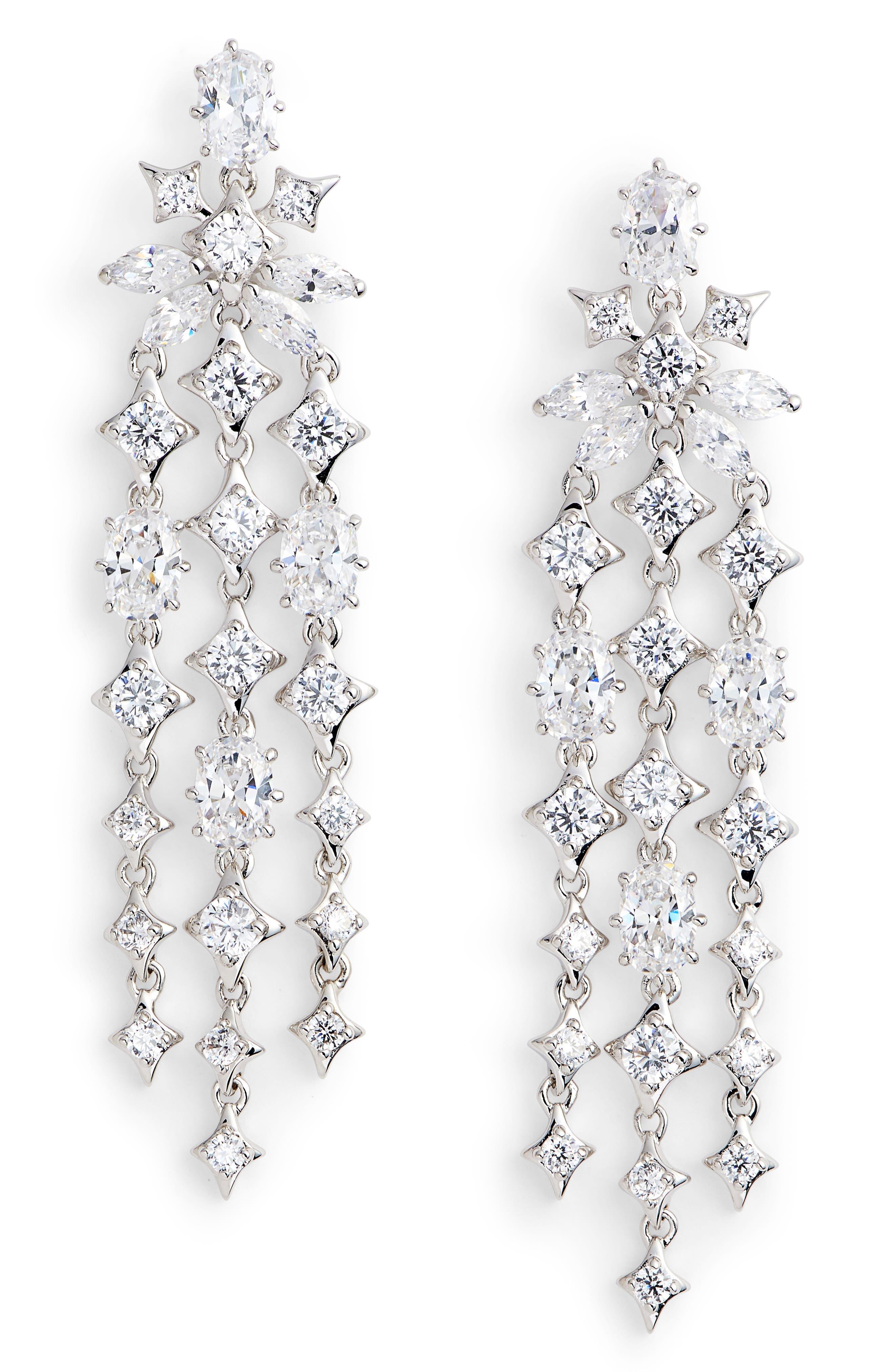 Boho Linear Drop Earrings,                         Main,                         color, Silver/ Clear