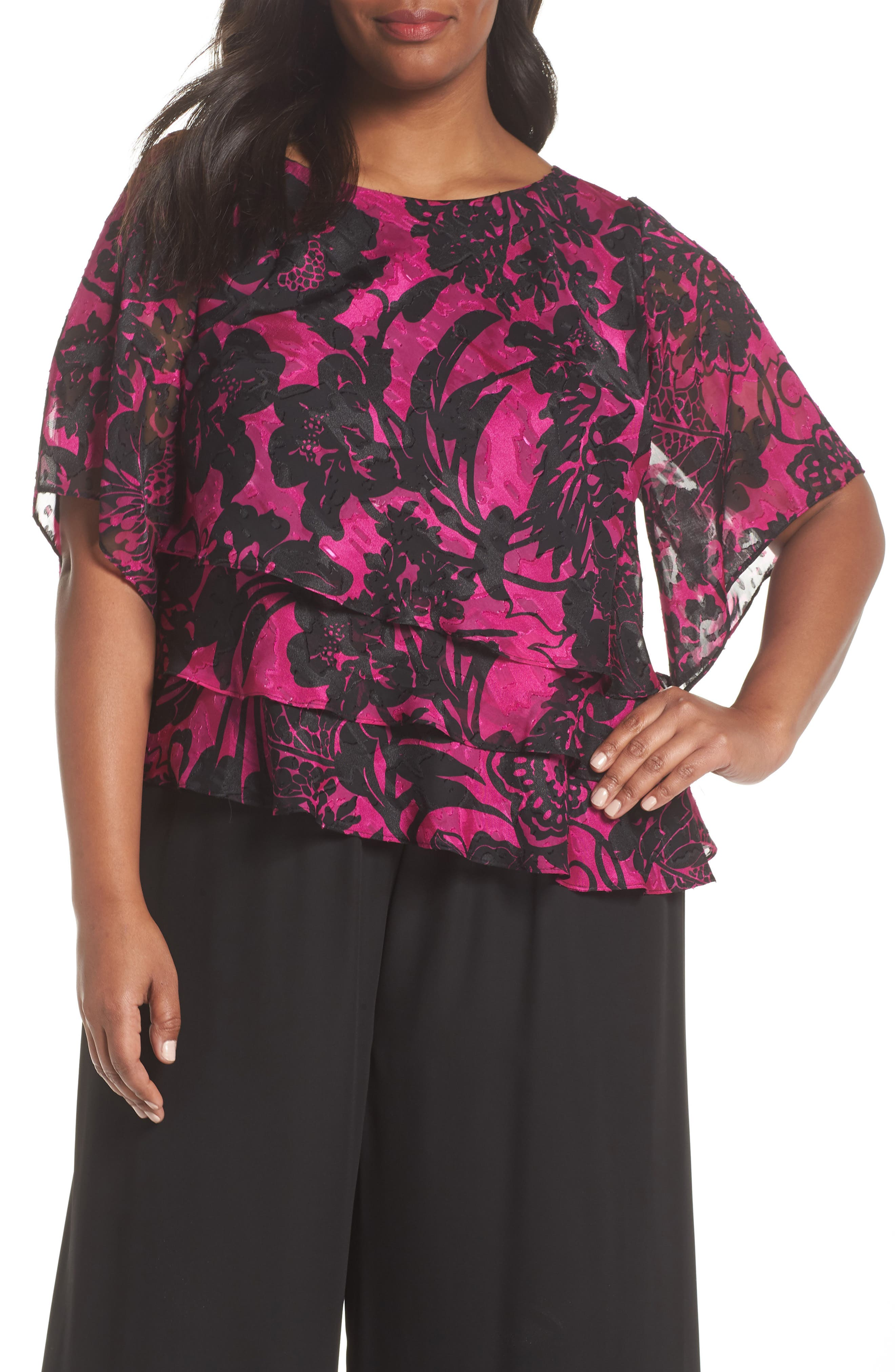 Print Tiered Blouse,                         Main,                         color, Black/ Magenta