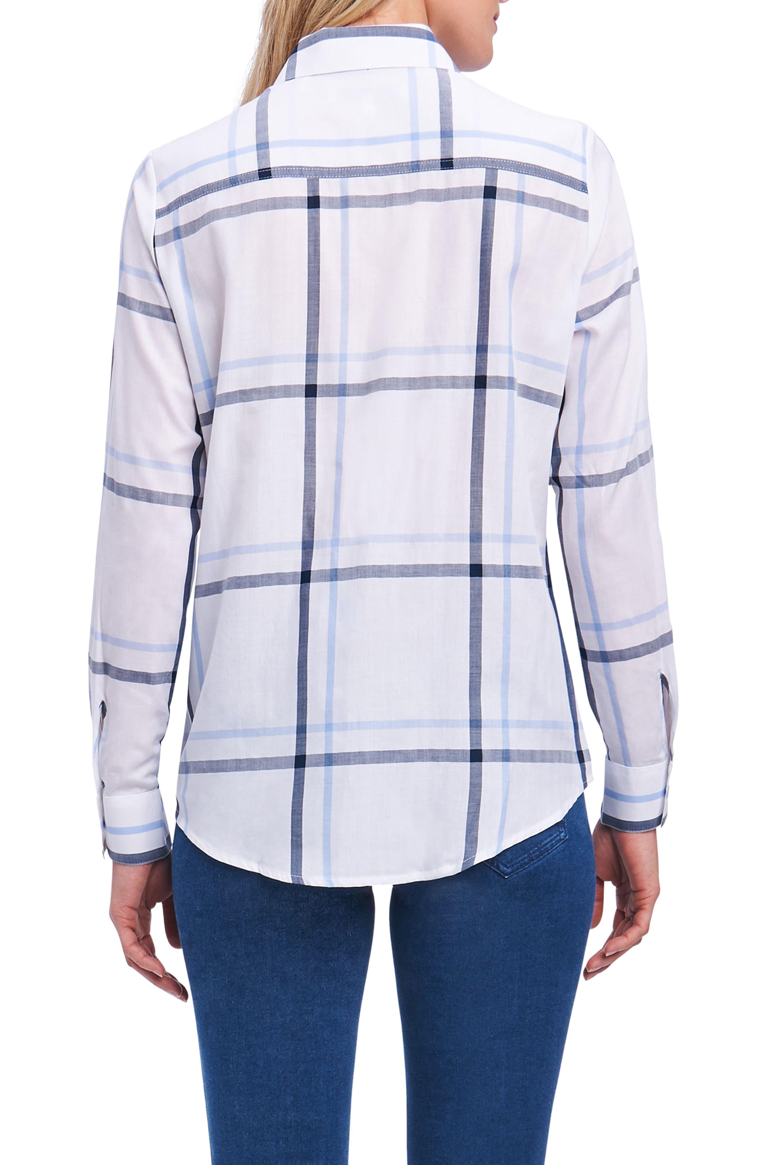 Coralie Plaid Woven Shirt,                             Alternate thumbnail 2, color,                             Harbor Blue