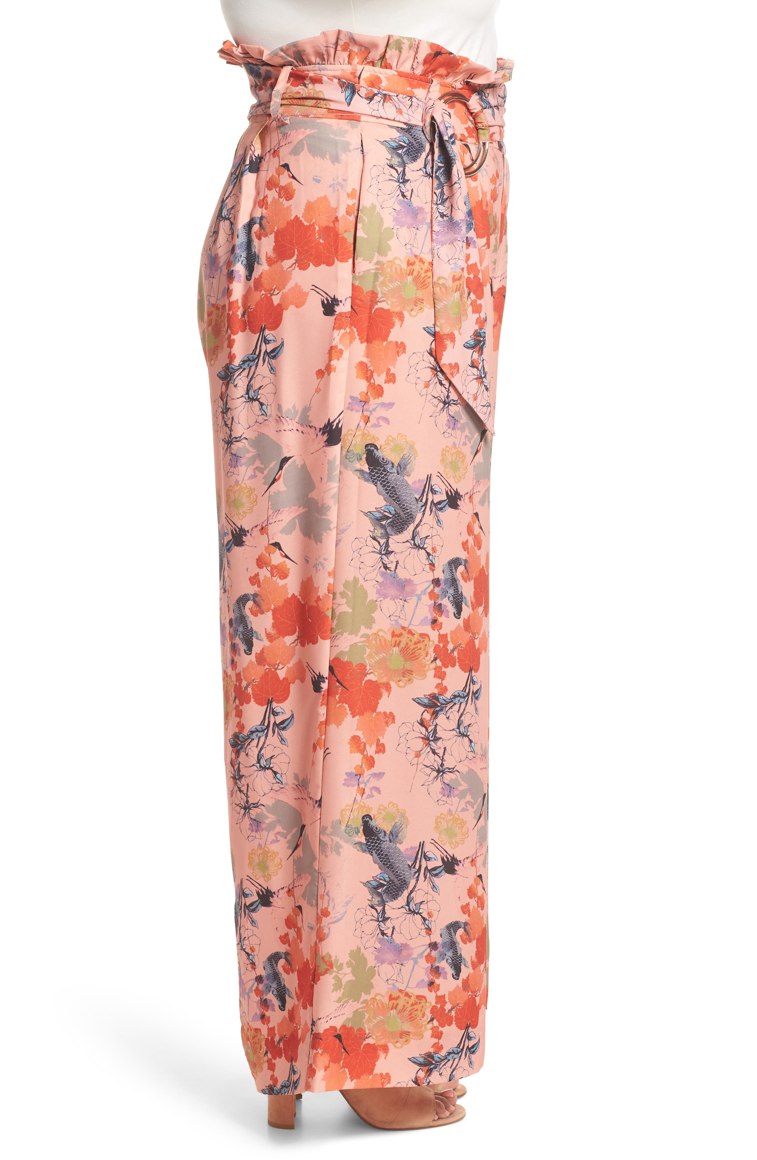 Print Belted Wide Leg Paperbag Trousers,                             Alternate thumbnail 3, color,                             Multi