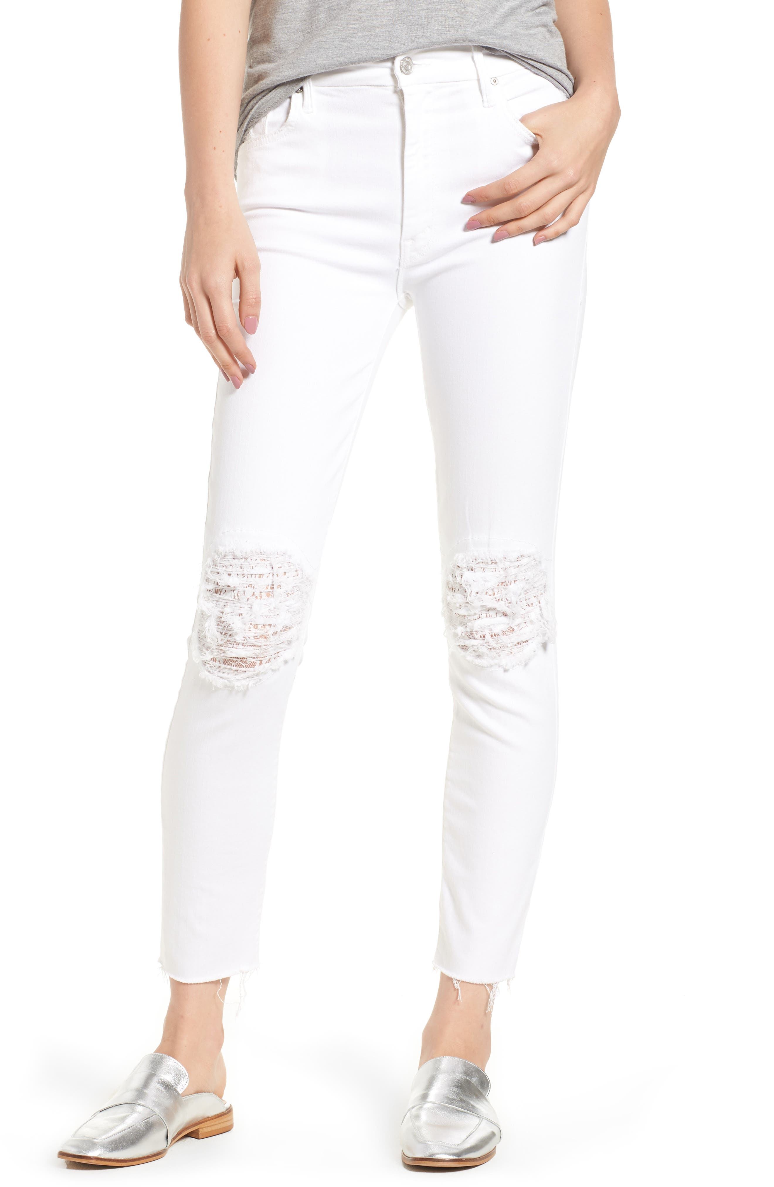 The Looker Frayed Ankle Skinny Jeans,                             Main thumbnail 1, color,                             Little Miss Lacey