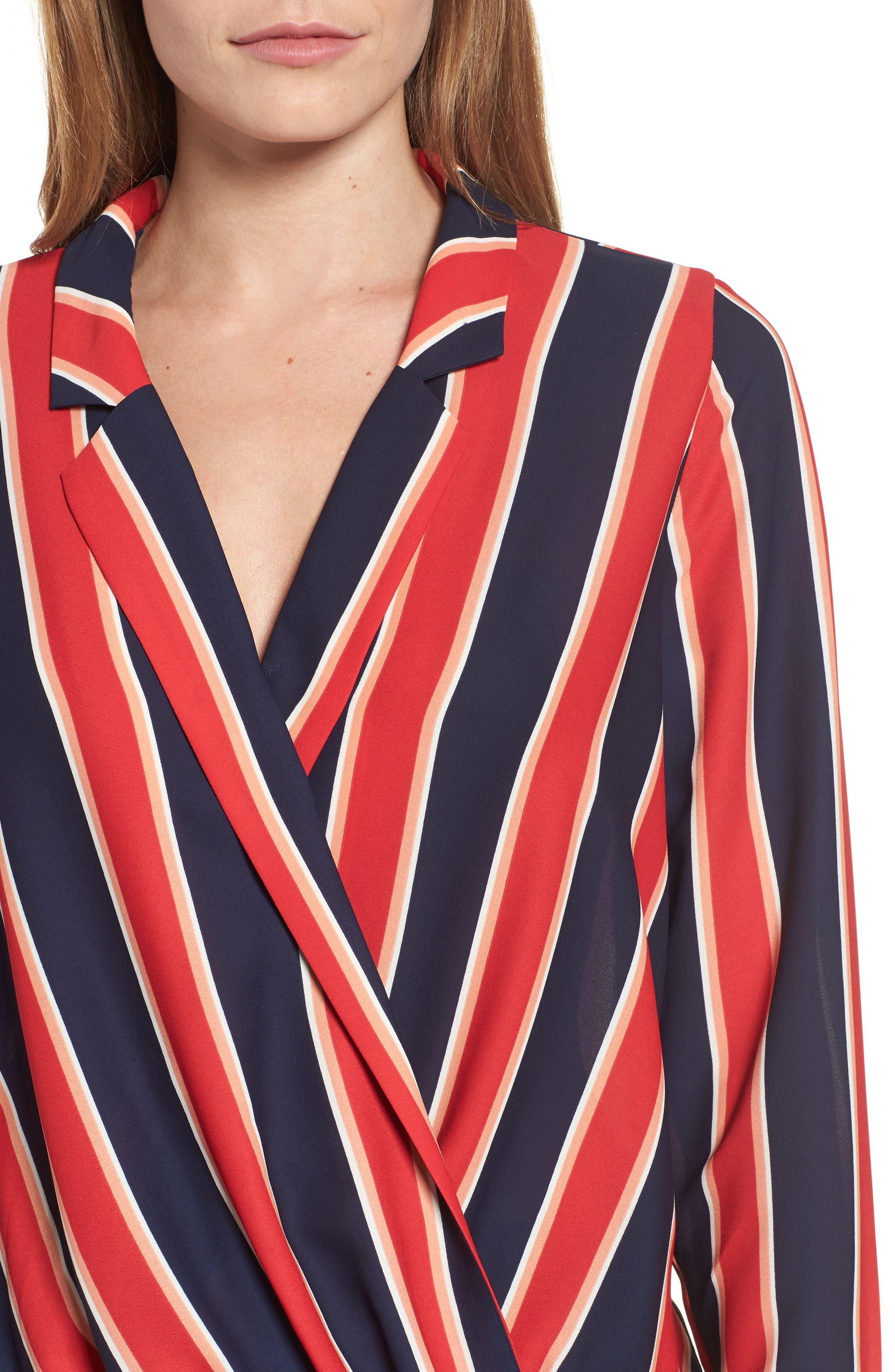 Surplice Drape Front Blouse,                             Alternate thumbnail 4, color,                             Blue/ White/ Red Stripe