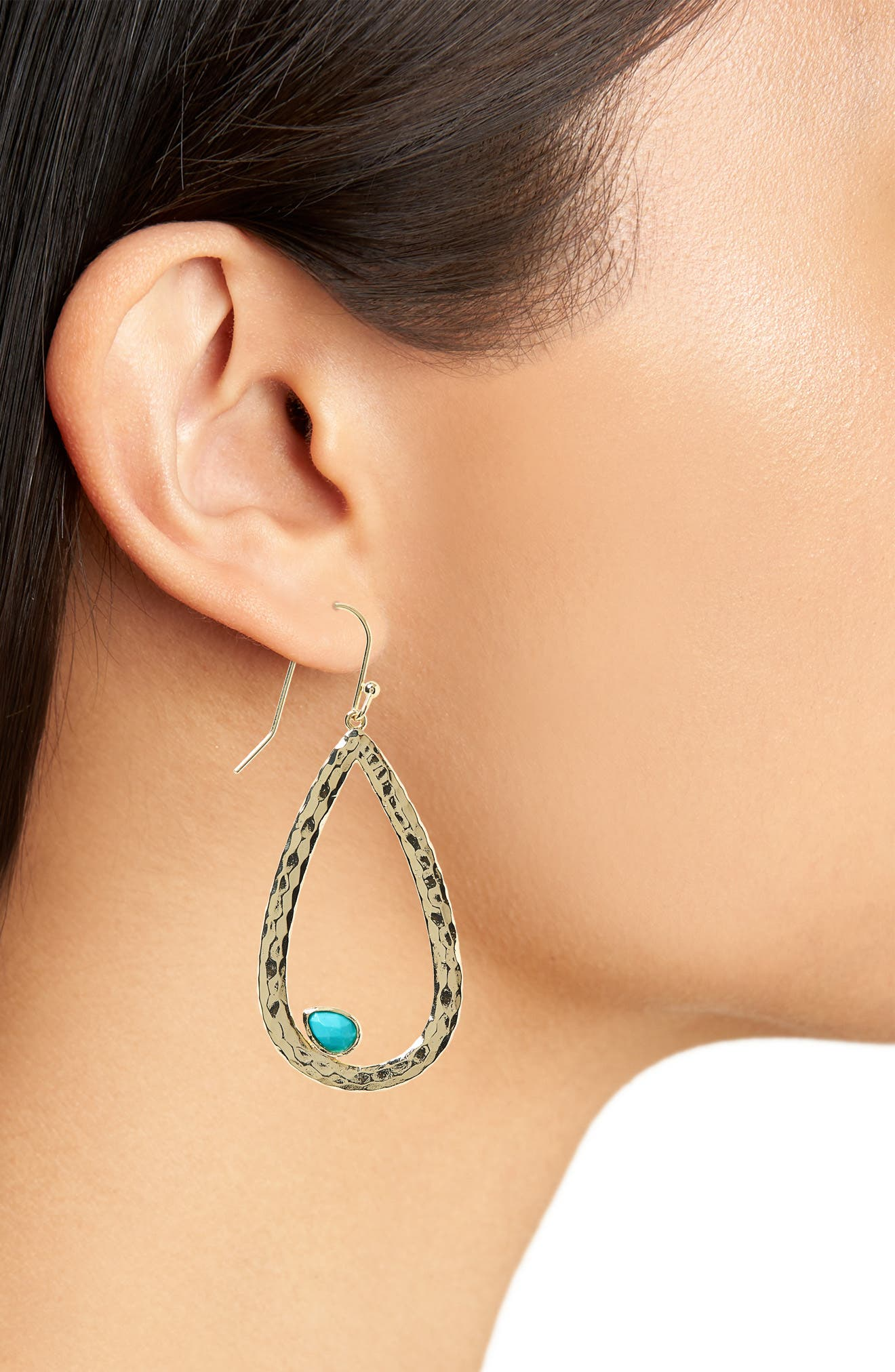 Sweet Teardrop Earrings,                             Alternate thumbnail 2, color,                             Gold Turquoise/ White Cz