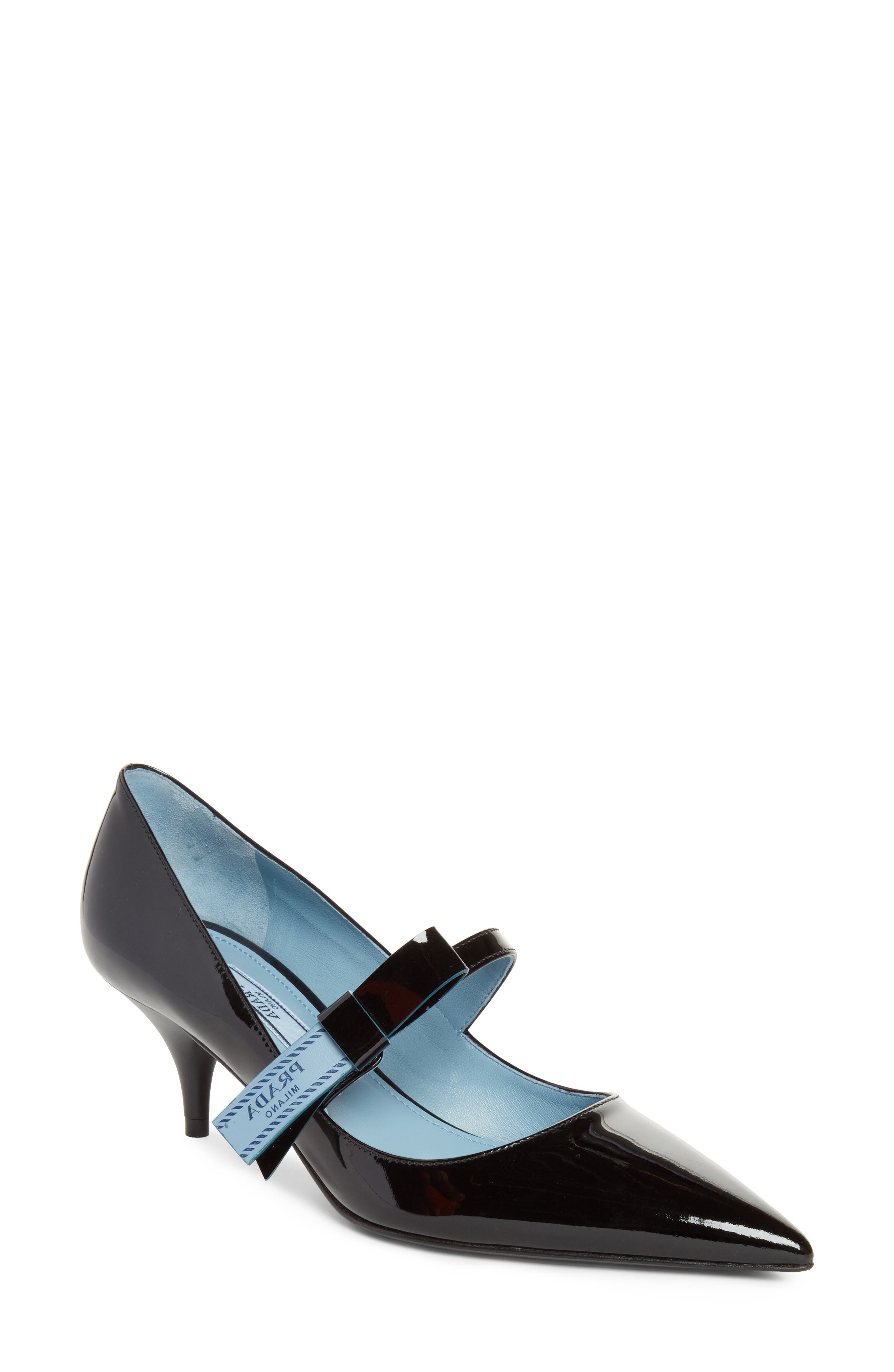 Prada Logo Bow Pointy Toe Pump (Women)