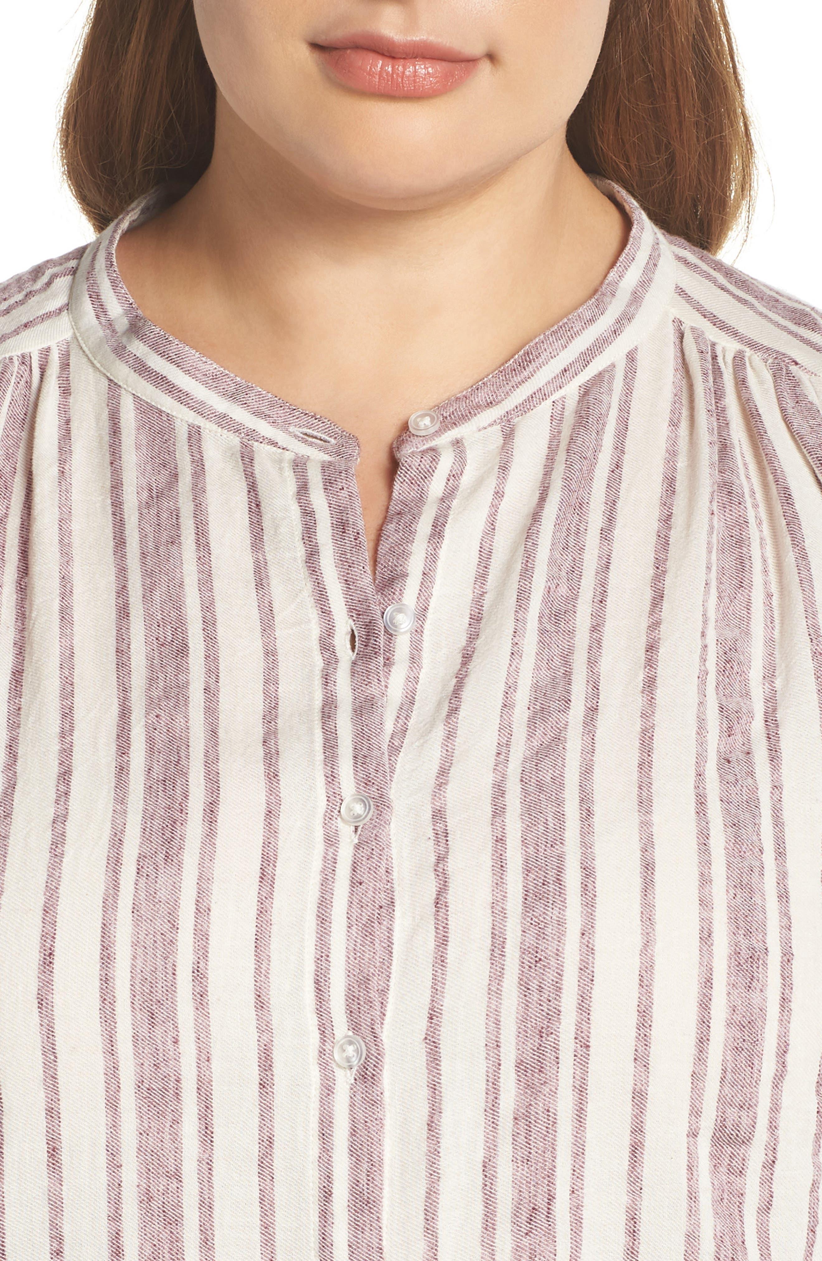 Stripe Tunic,                             Alternate thumbnail 4, color,                             Raspberry Multi