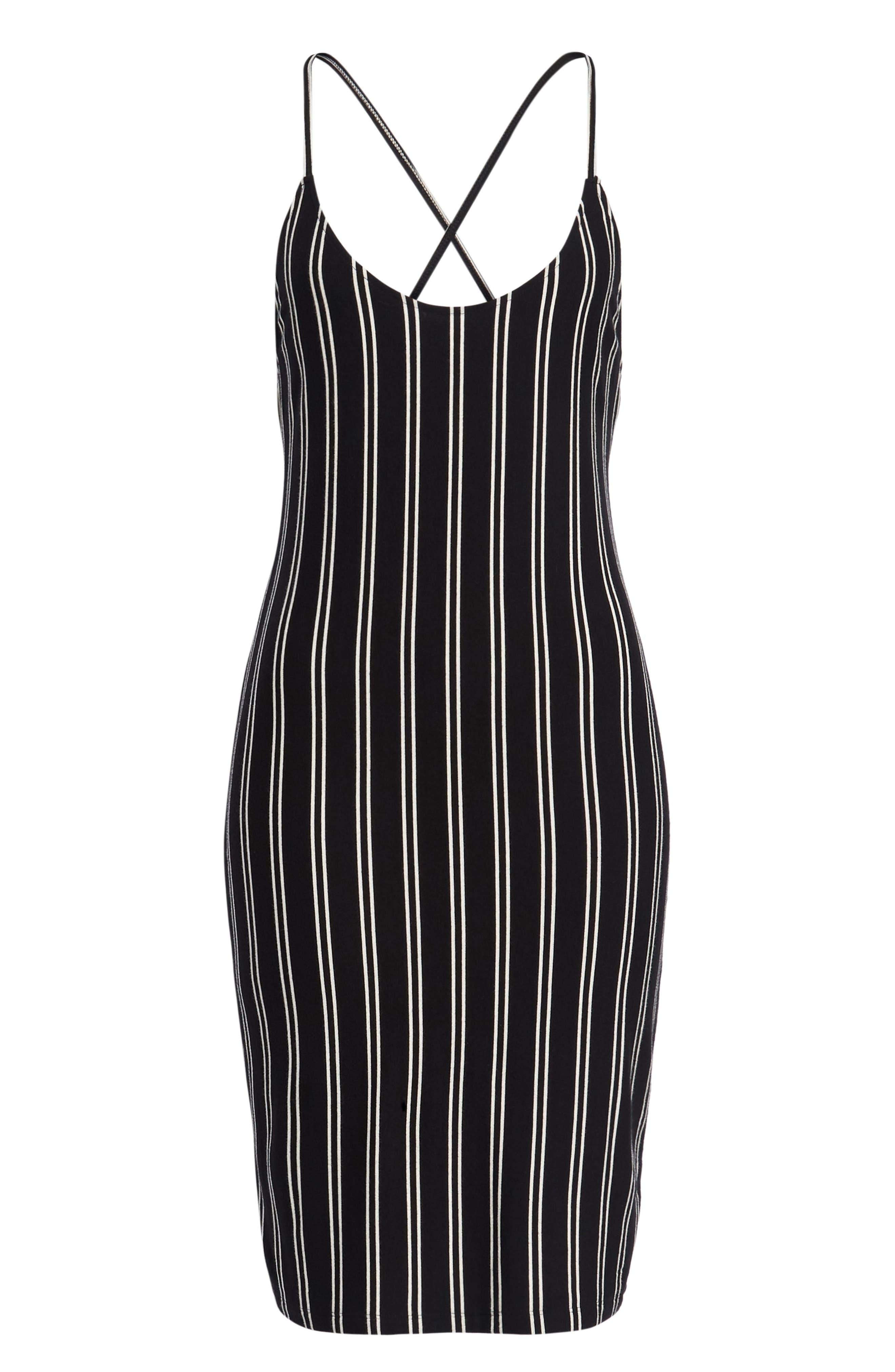 Lockette Strappy Striped Dress,                             Alternate thumbnail 7, color,                             Jet Black Multi