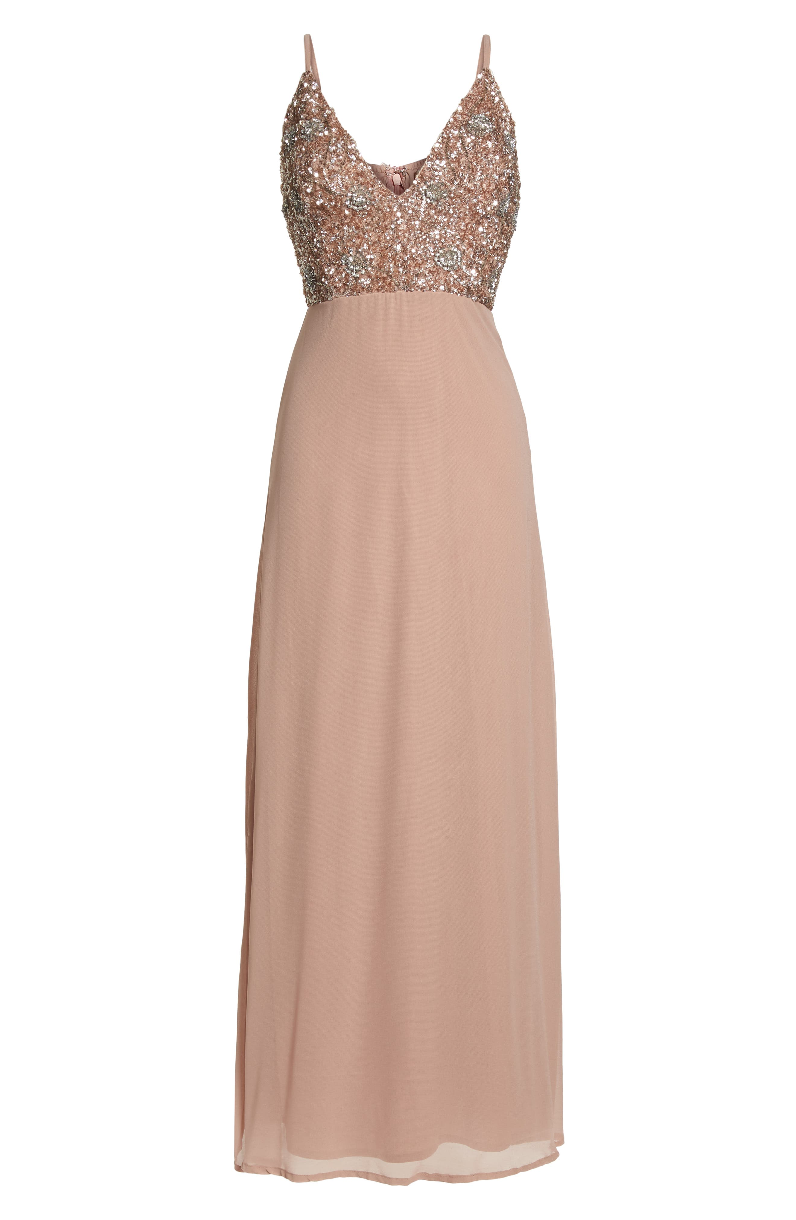 Embellished Chiffon Gown,                             Alternate thumbnail 6, color,                             Dusty Pink